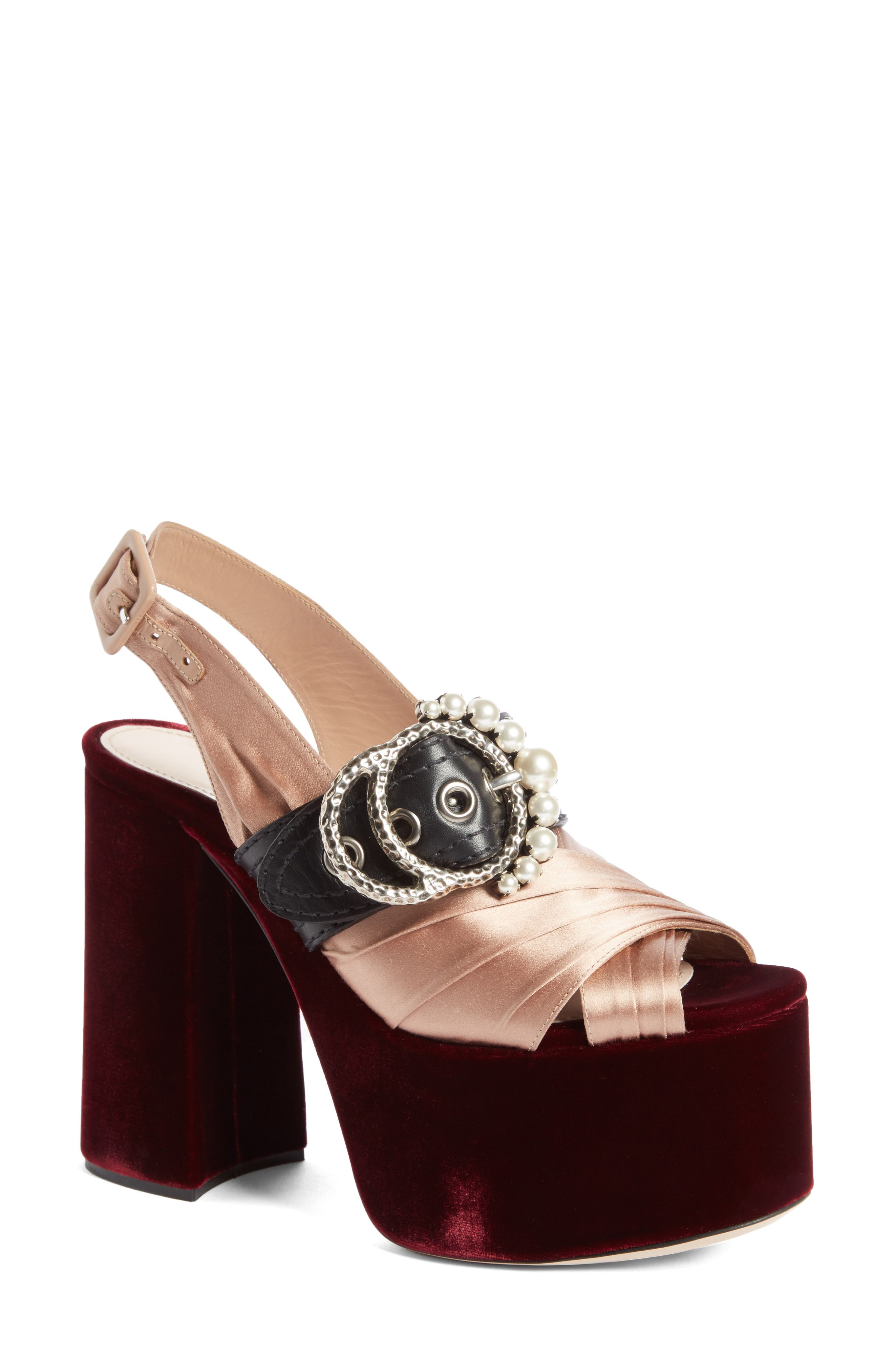 Alternate Image 1 Selected - Miu Miu Imitation Pearl Slingback Platform Sandal (Women)