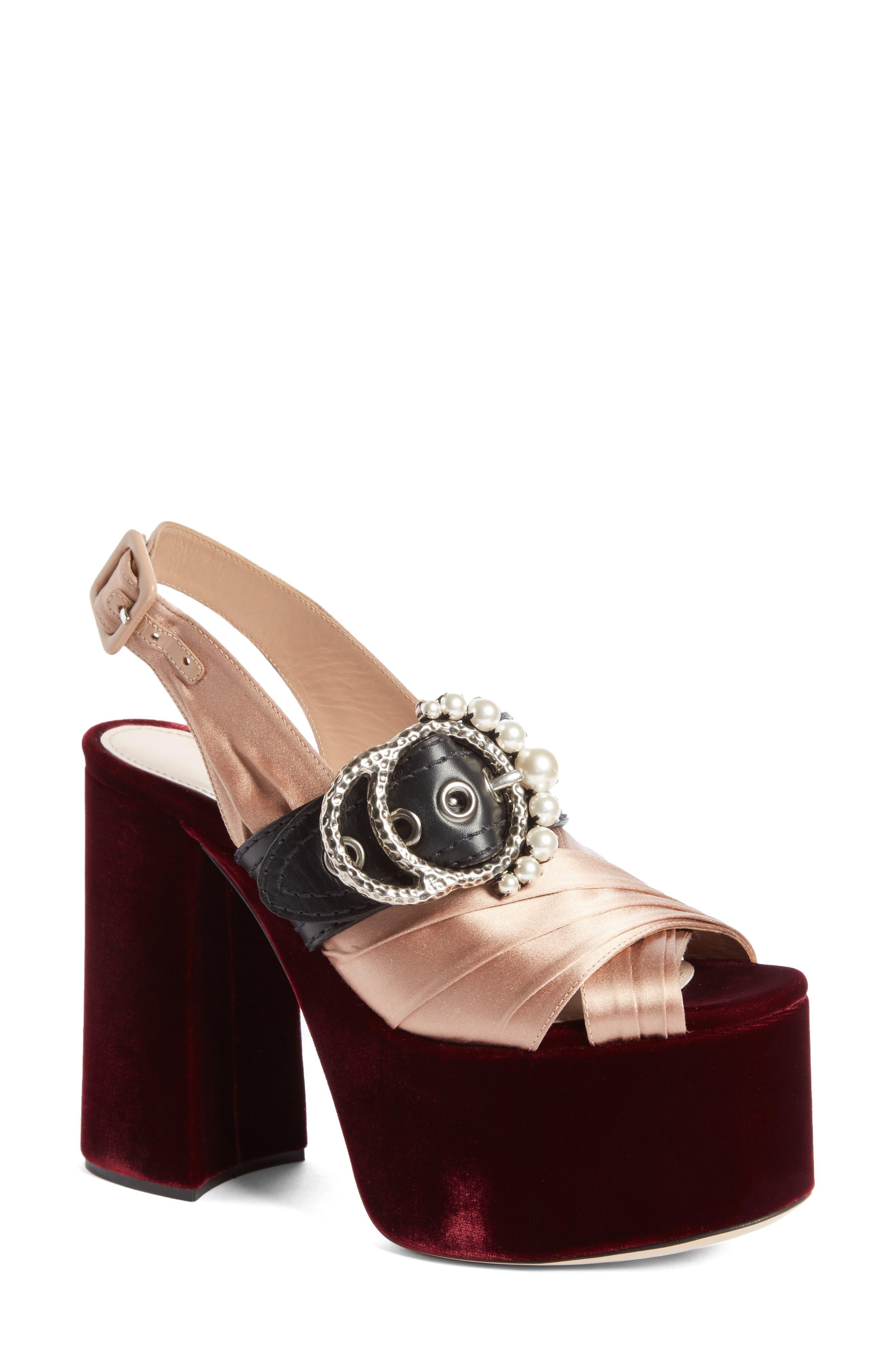 Miu Miu Imitation Pearl Slingback Platform Sandal (Women)