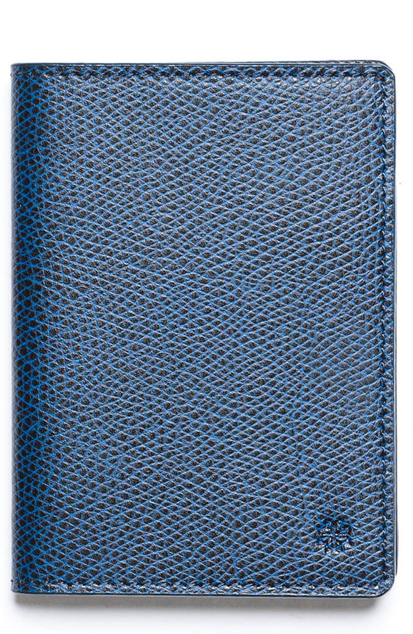 Vertical Leather Wallet,                         Main,                         color, Navy