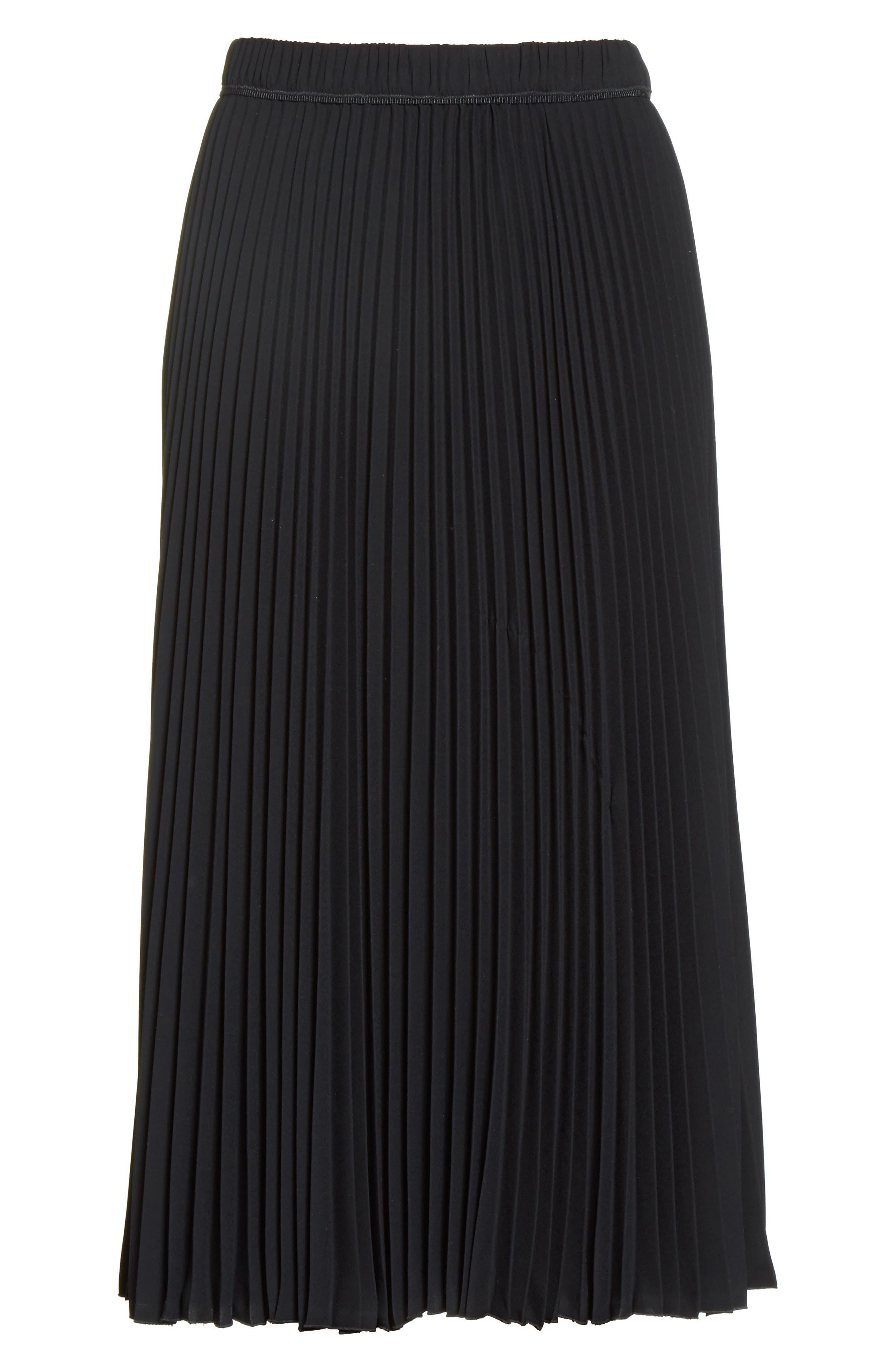 Pleated Crêpe de Chine Midi Skirt,                             Alternate thumbnail 7, color,                             Black