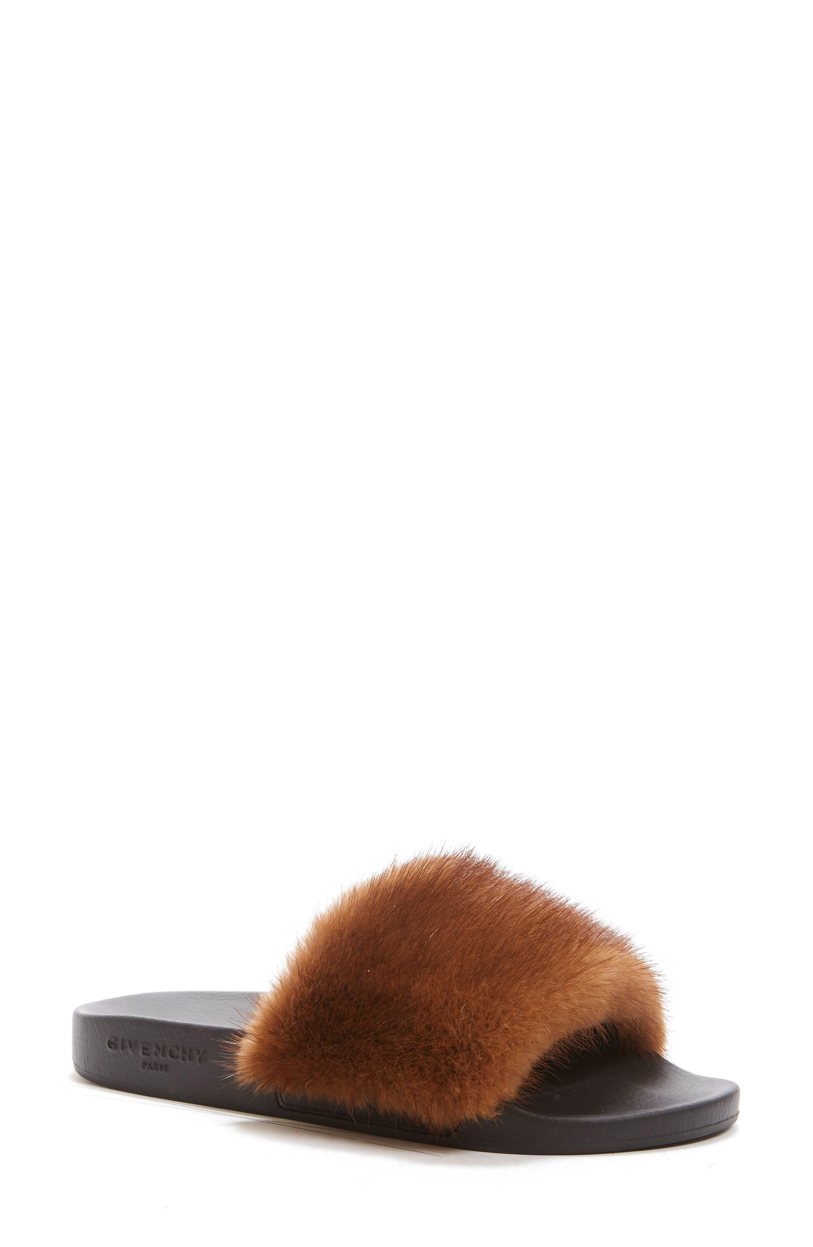 Givenchy Genuine Mink Fur Slide Sandal (Women)
