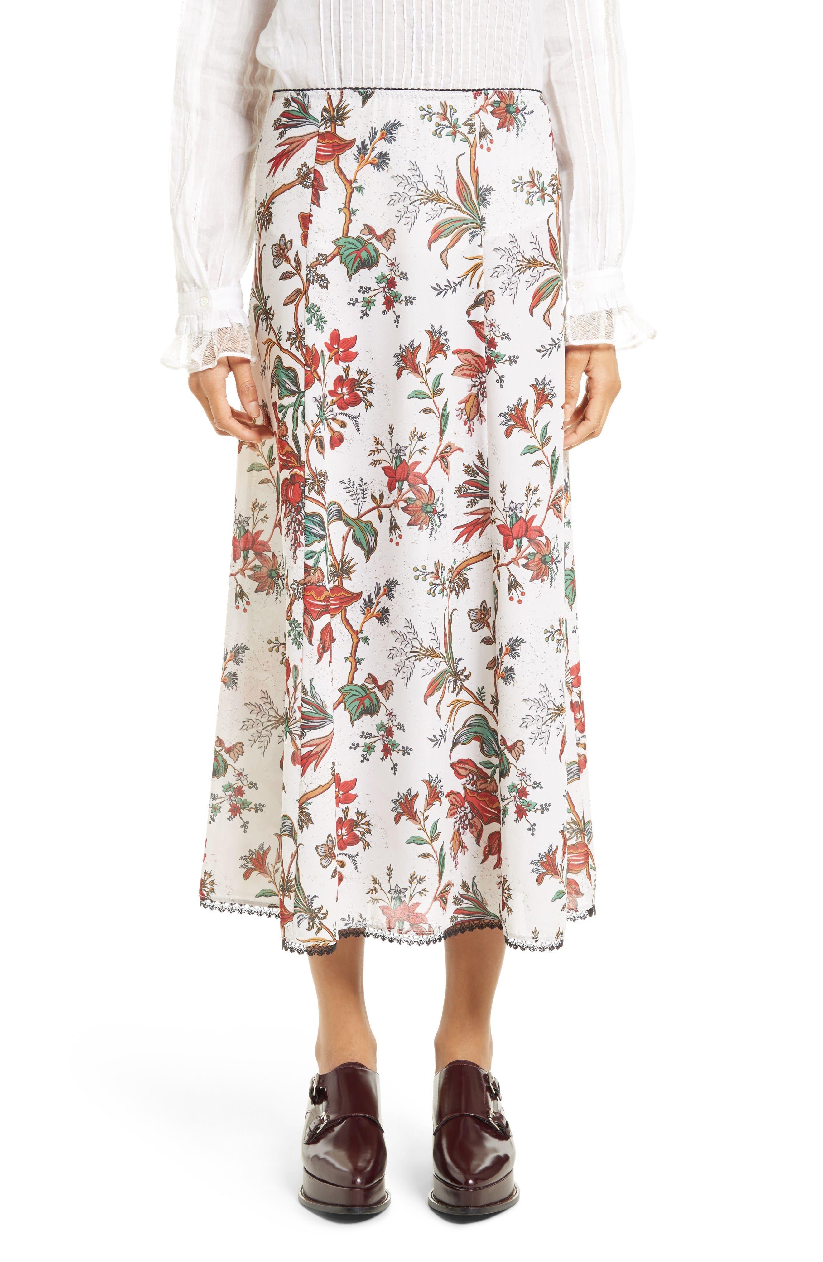 McQ Alexander McQueen Floral Print Skirt