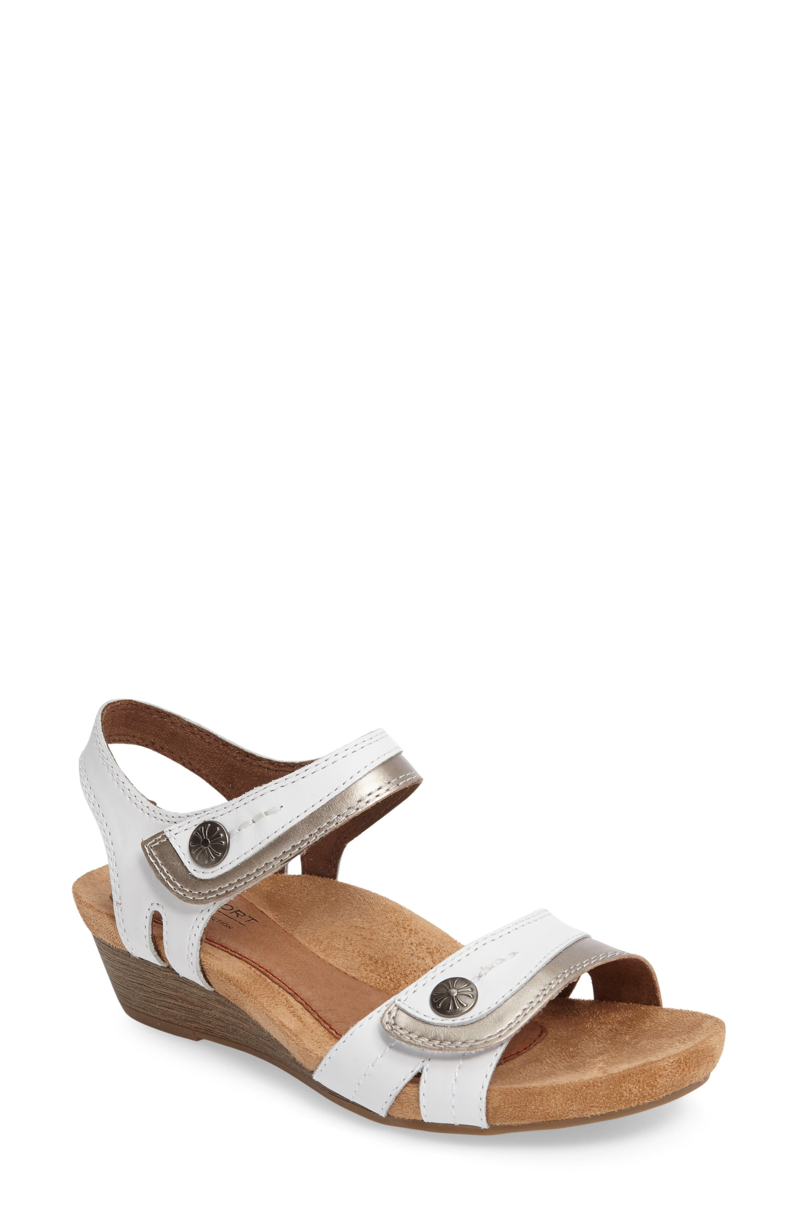 Hollywood Wedge Sandal,                         Main,                         color, White Leather