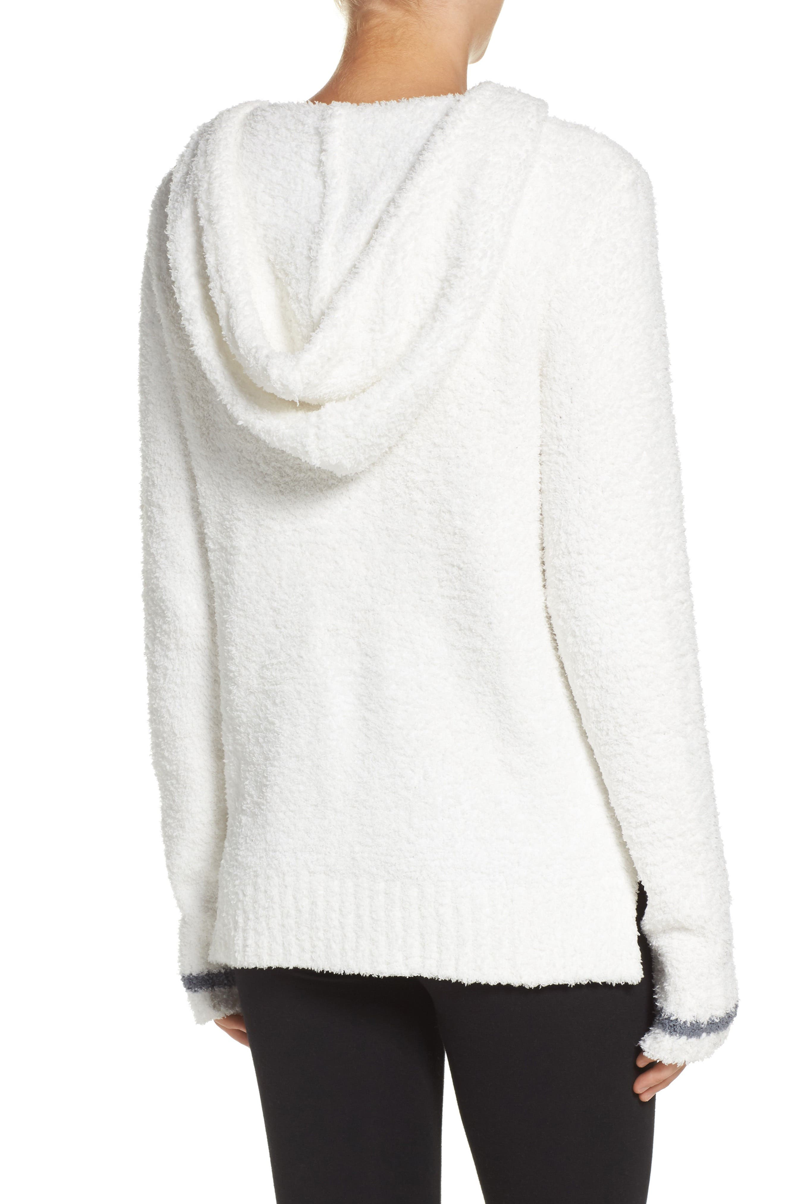 Barefoot Dreams Cozychic<sup>®</sup> Baha Lounge Hoodie,                             Alternate thumbnail 2, color,                             White/ Graphite Stripe