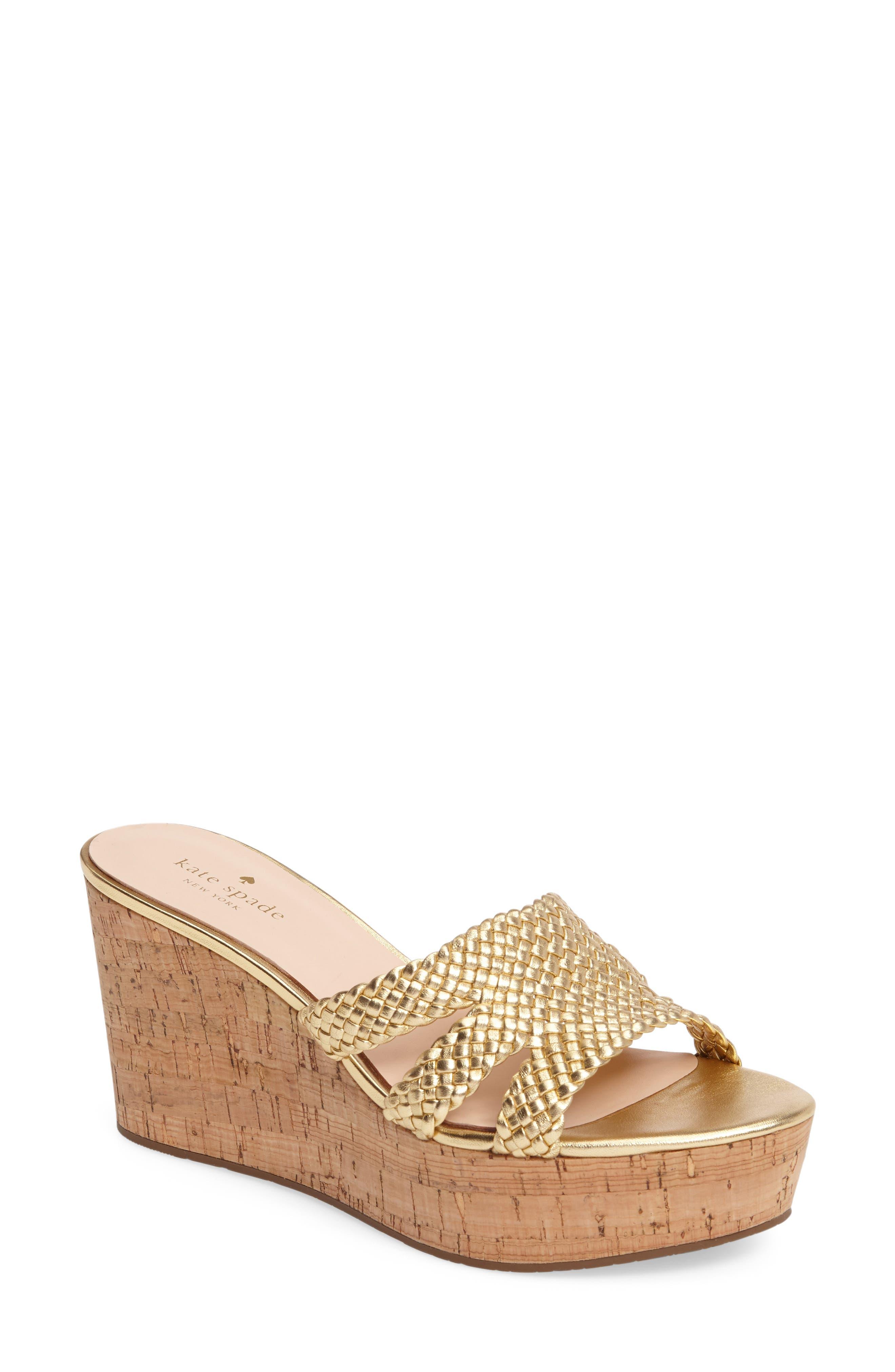 tarvela wedge sandal,                             Main thumbnail 1, color,                             Old Gold Woven Metallic Nappa