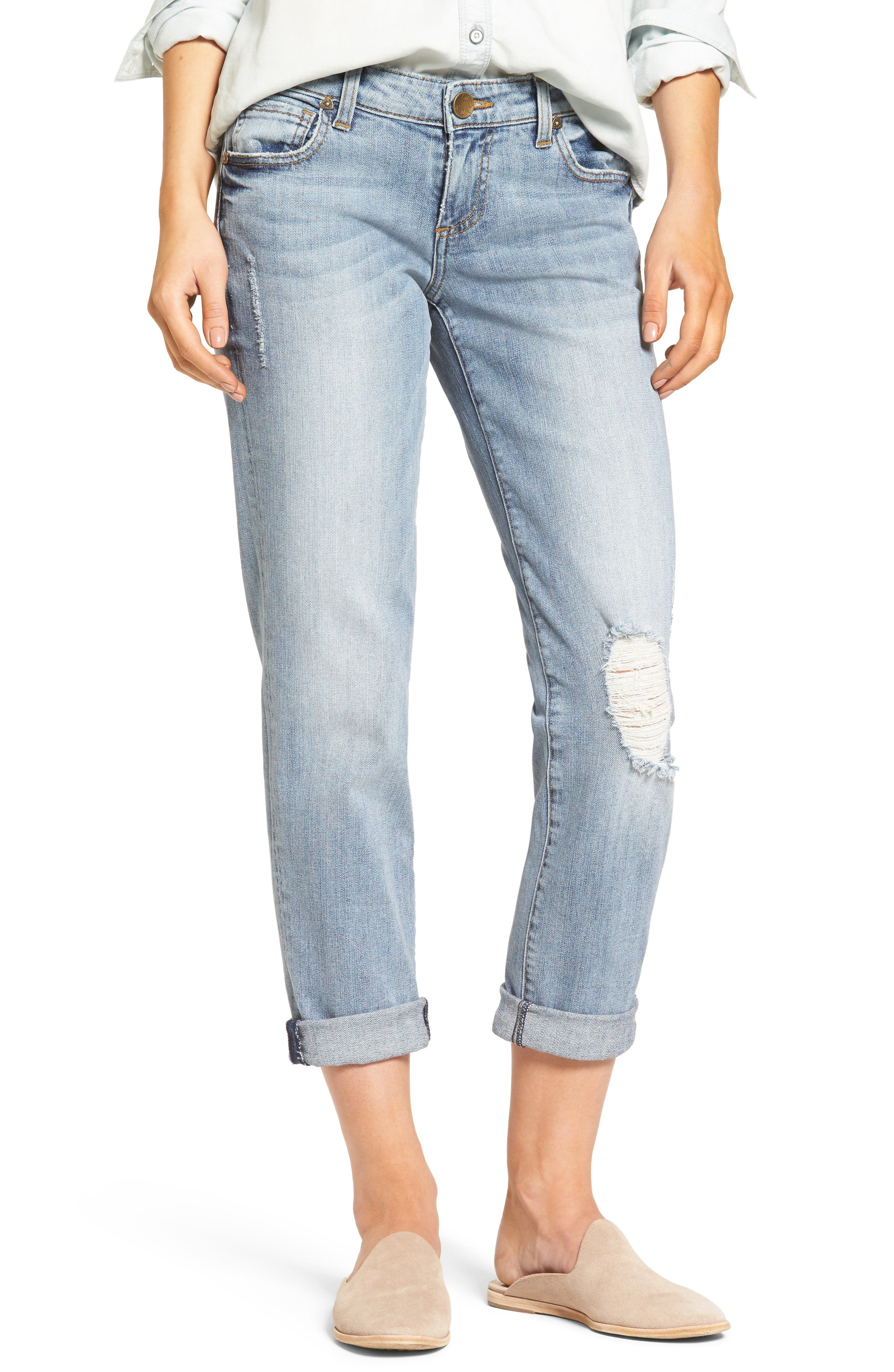 KUT from the Kloth Catherine Distressed Boyfriend Jeans (Regarded) (Regular & Petite)
