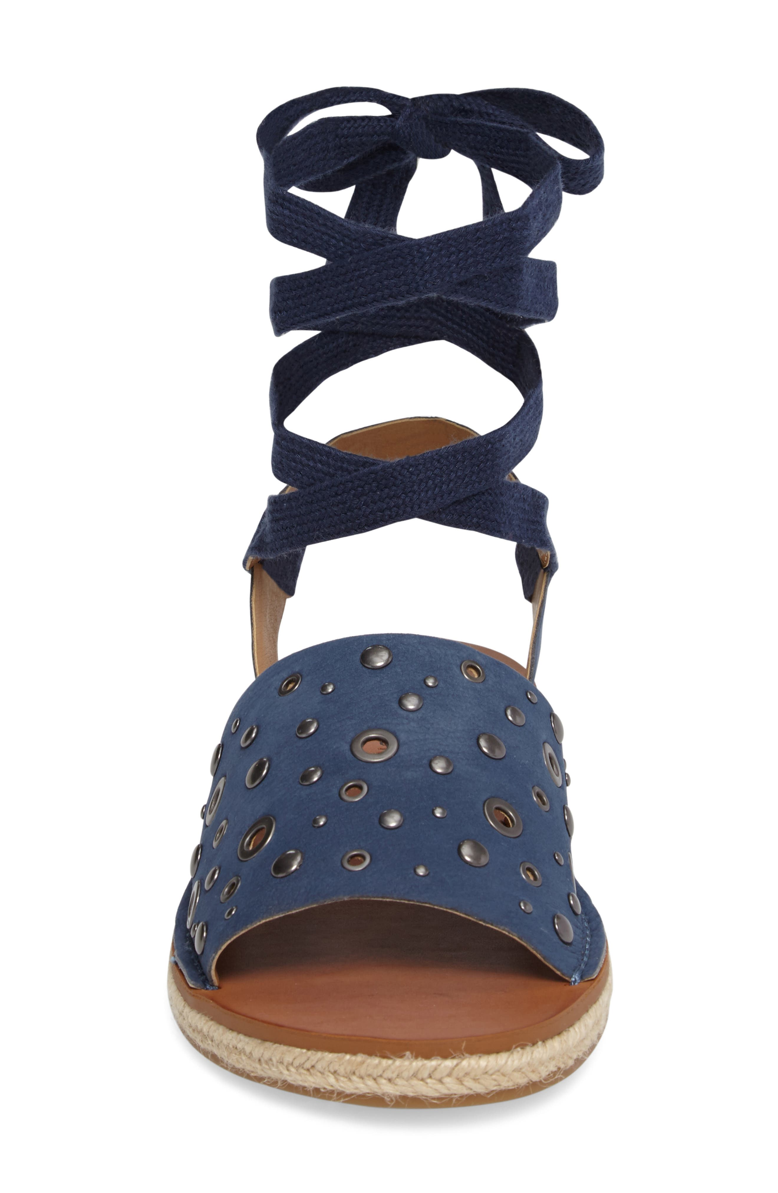 Daytah Ankle Tie Sandal,                             Alternate thumbnail 4, color,                             Dark Chambray