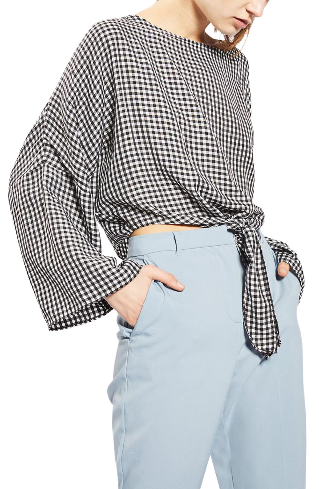 Alternate Image 5  - Topshop Knot Gingham Top