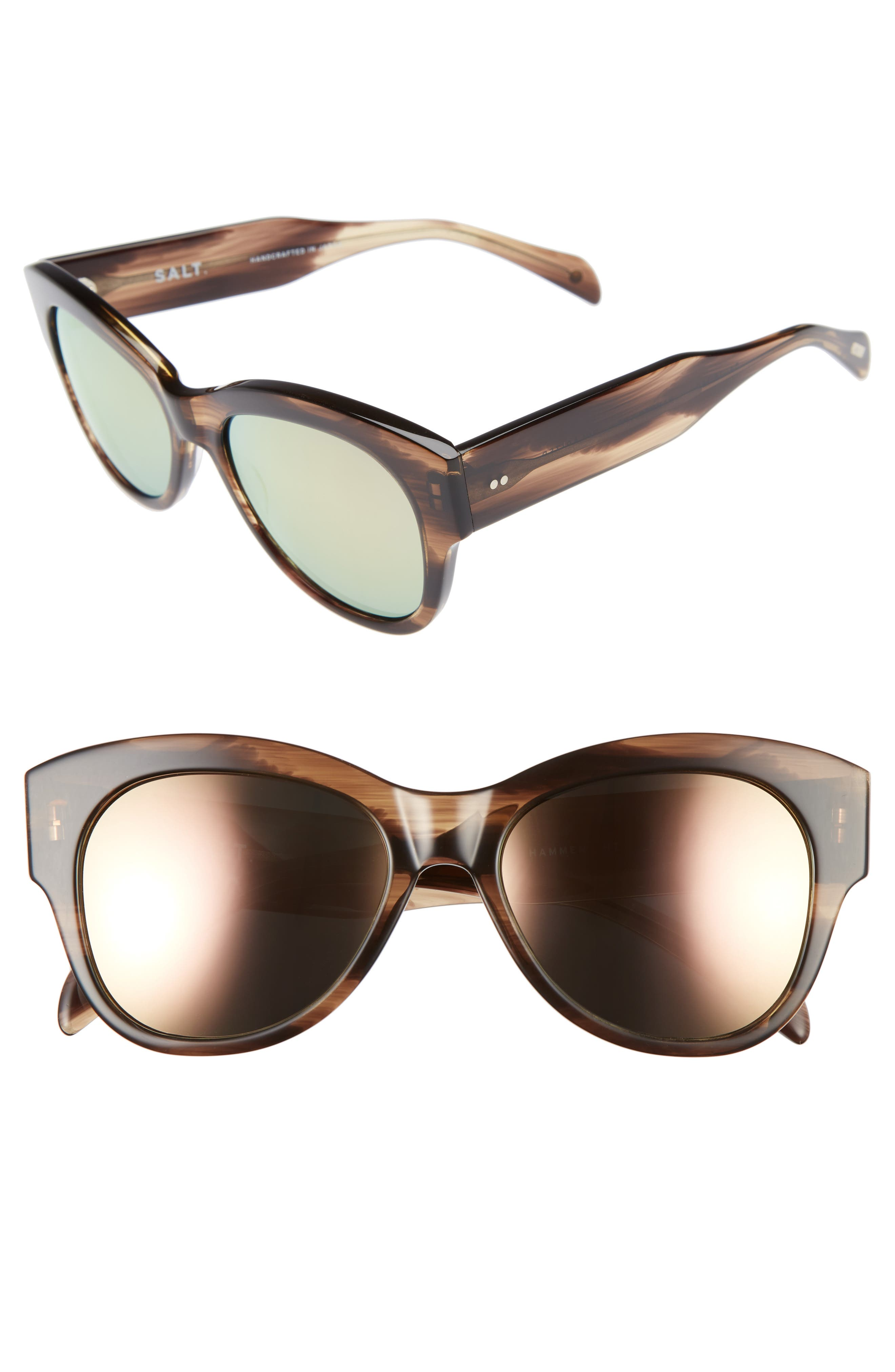 Hammen 54mm Polarized Cat Eye Sunglasses,                         Main,                         color, Hazy Taupe/ Rose Mirror