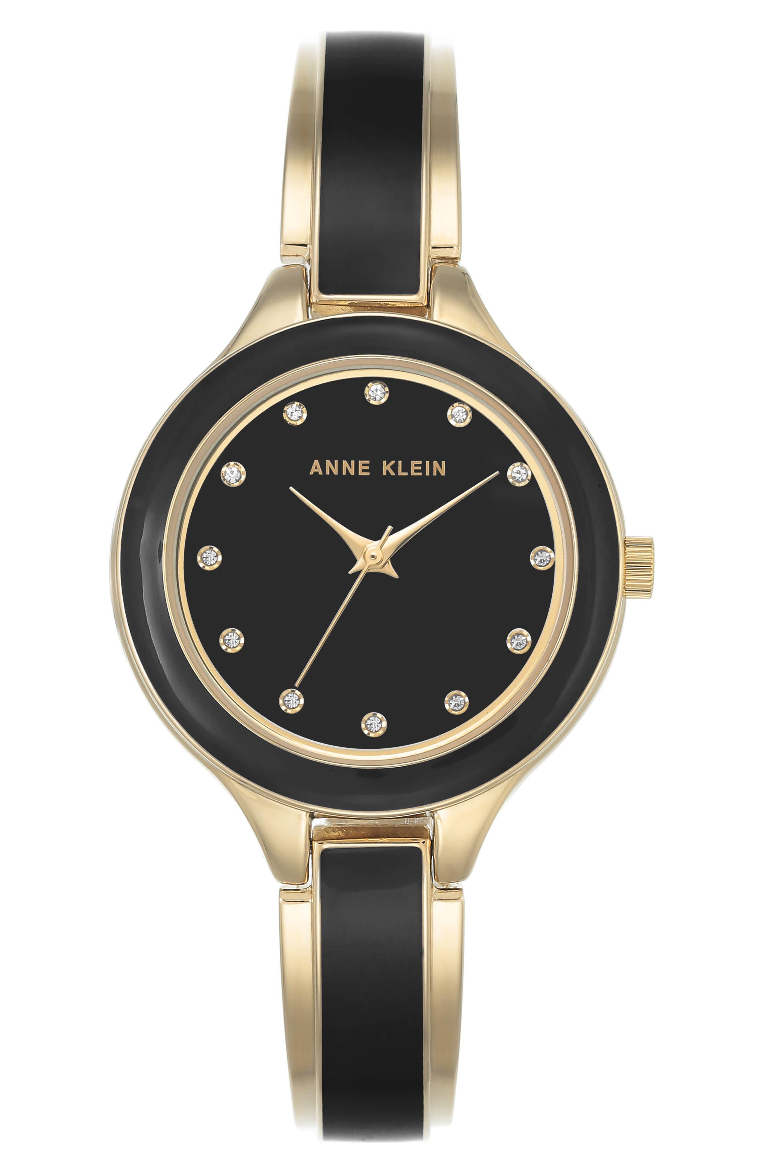 Enamel Bangle Watch, 32mm,                         Main,                         color, Black/ Gold
