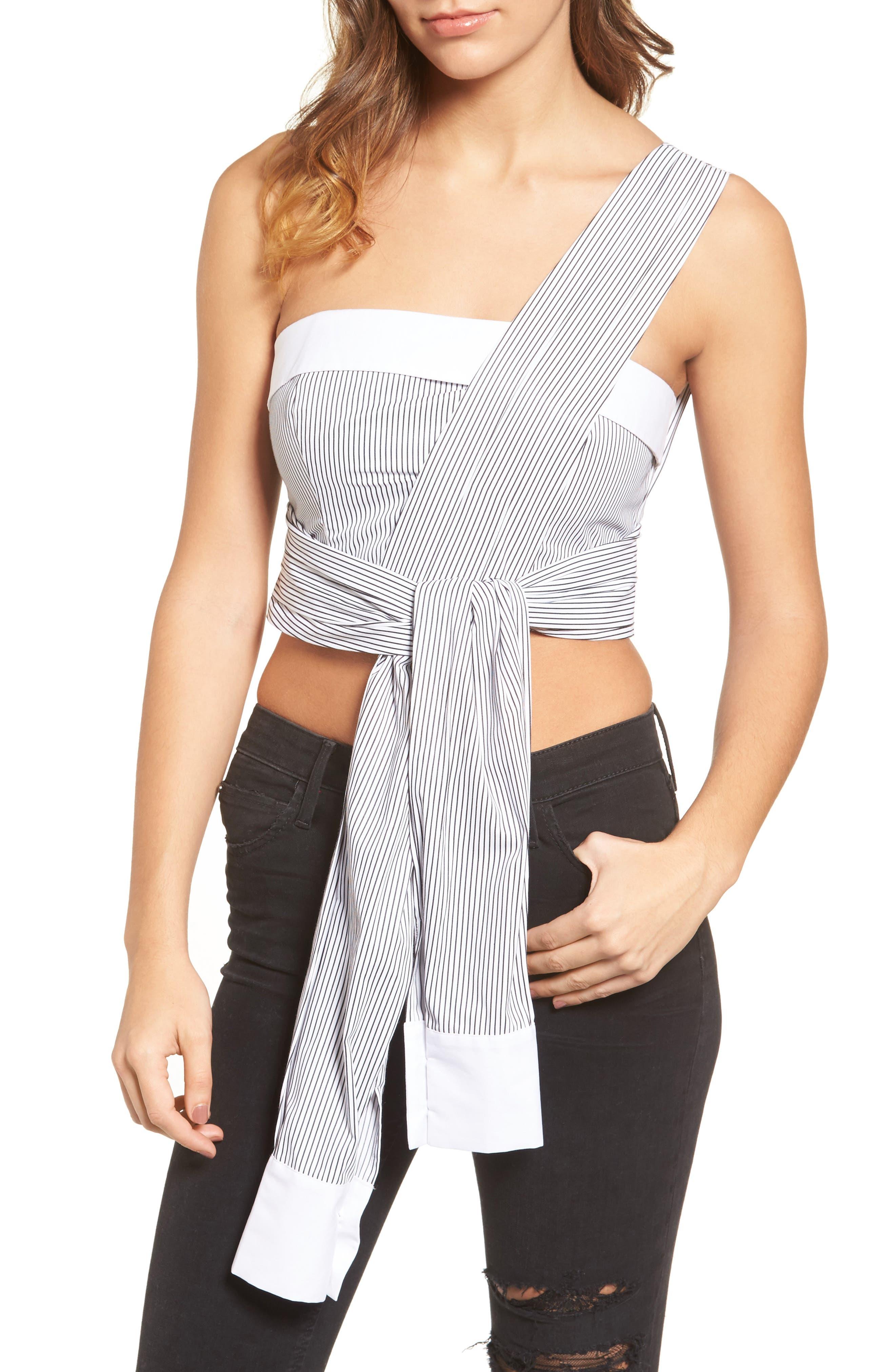Sleeve Wrap Crop Top,                         Main,                         color, White/ Black