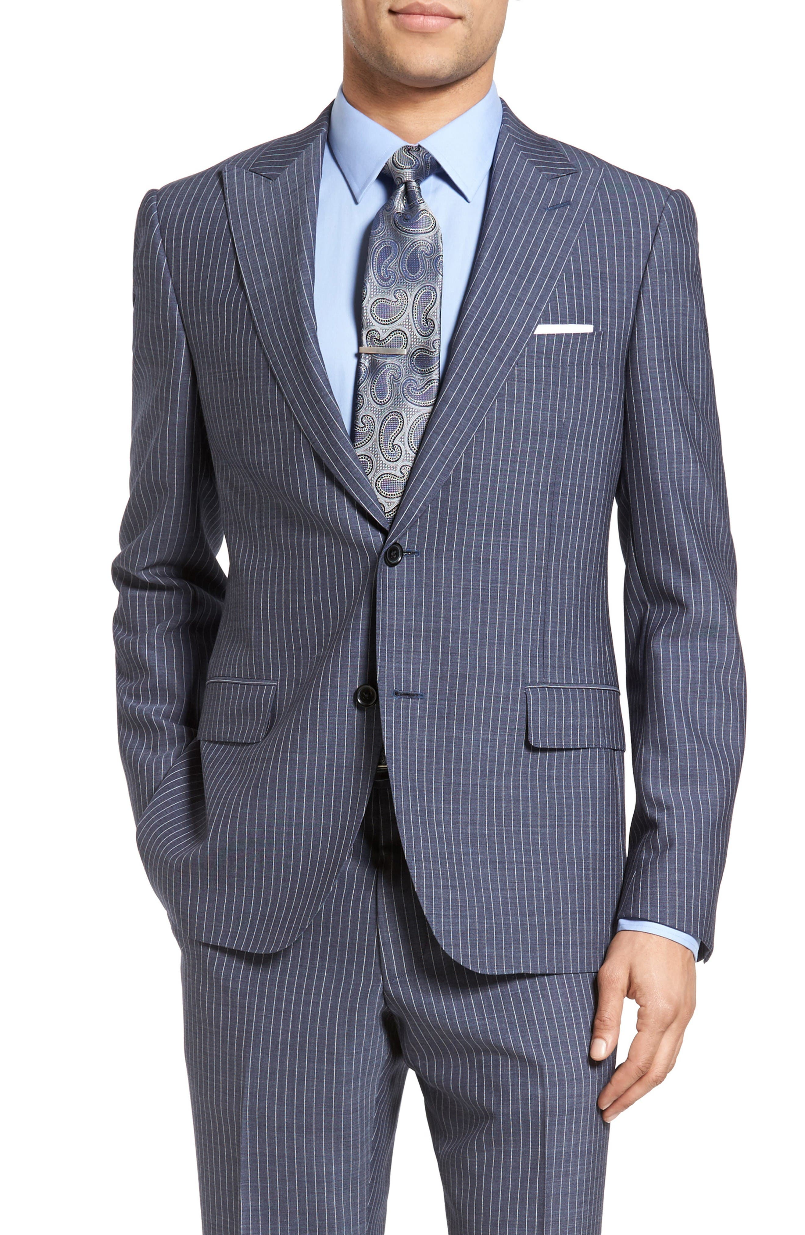 Beckett Classic Fit Stripe Wool Suit,                             Alternate thumbnail 5, color,                             Light Blue
