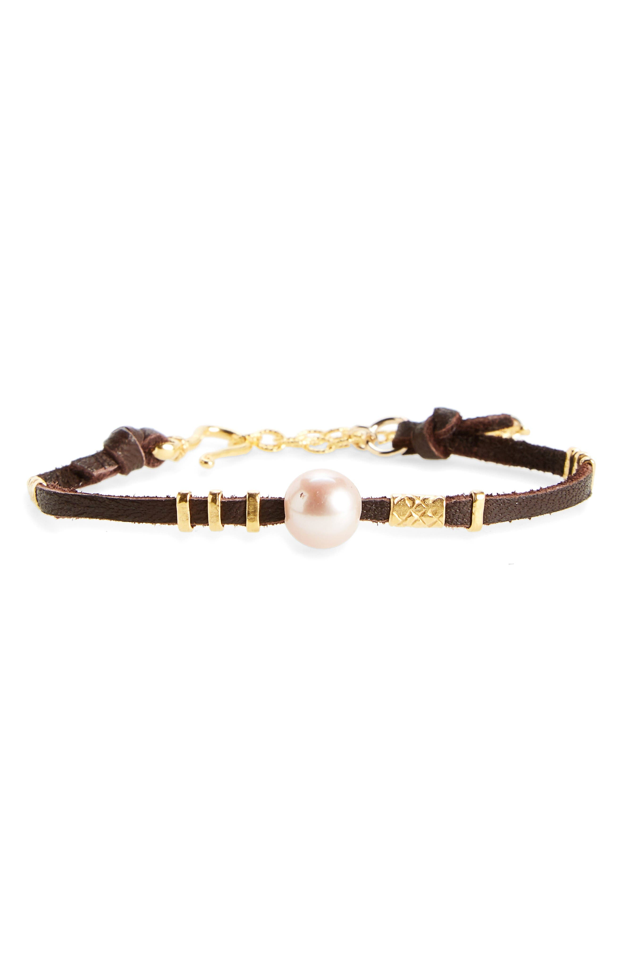 Pearl & Leather Bracelet,                             Main thumbnail 1, color,                             Pink Pearl/ Brown