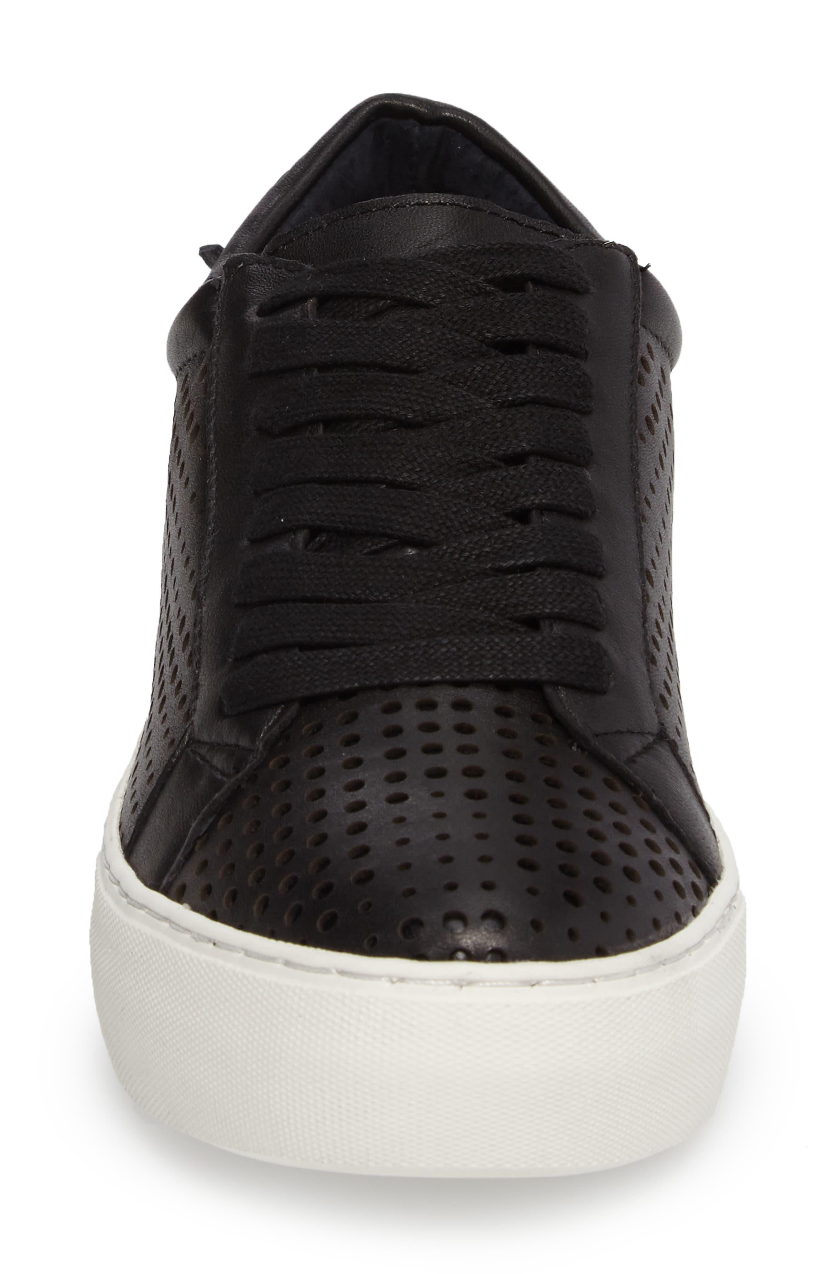 Audrina Platform Sneaker,                             Alternate thumbnail 4, color,                             Black Leather