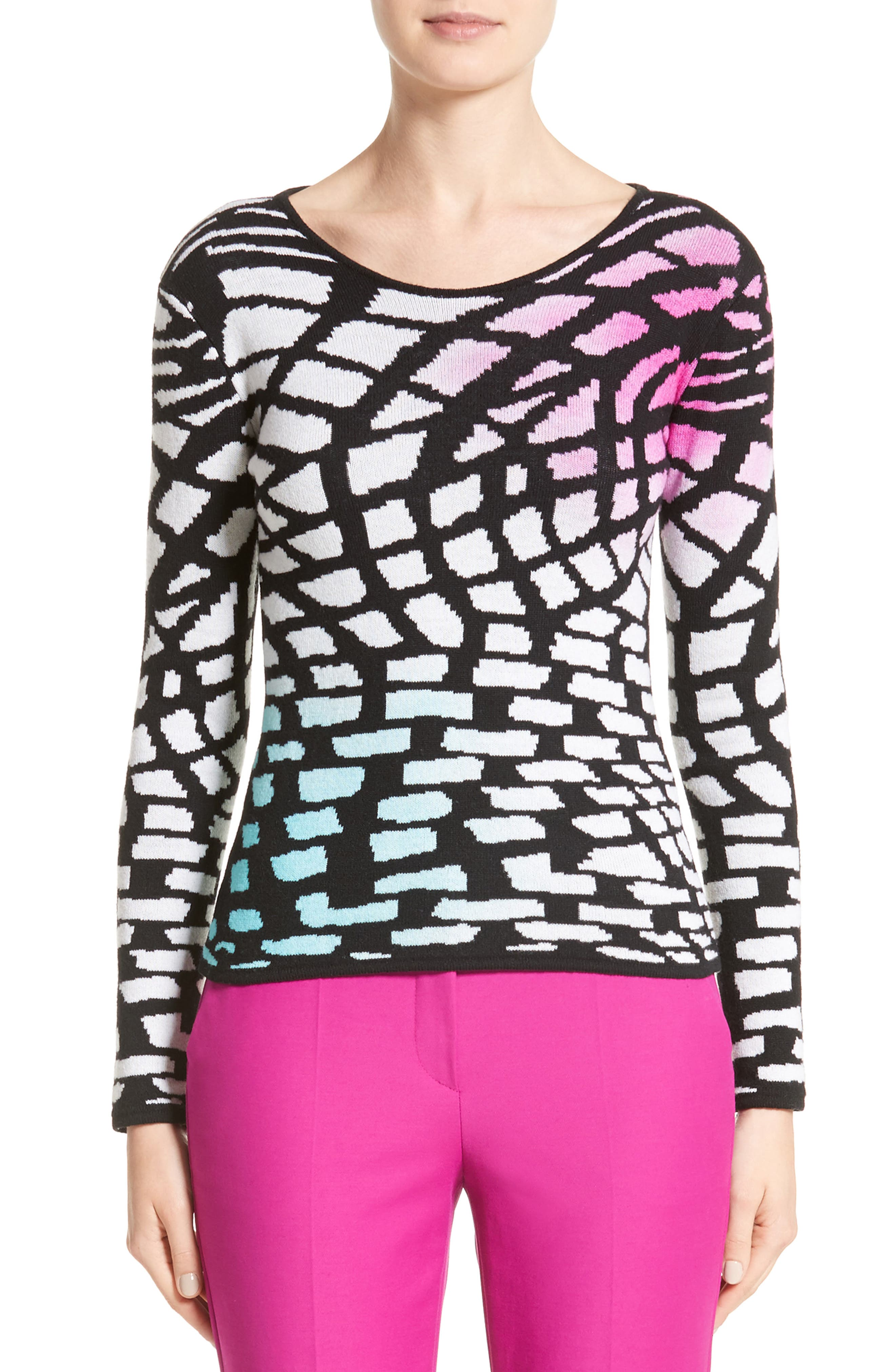 Intarsia Knit Wool & Cashmere Sweater,                         Main,                         color, Black/ White