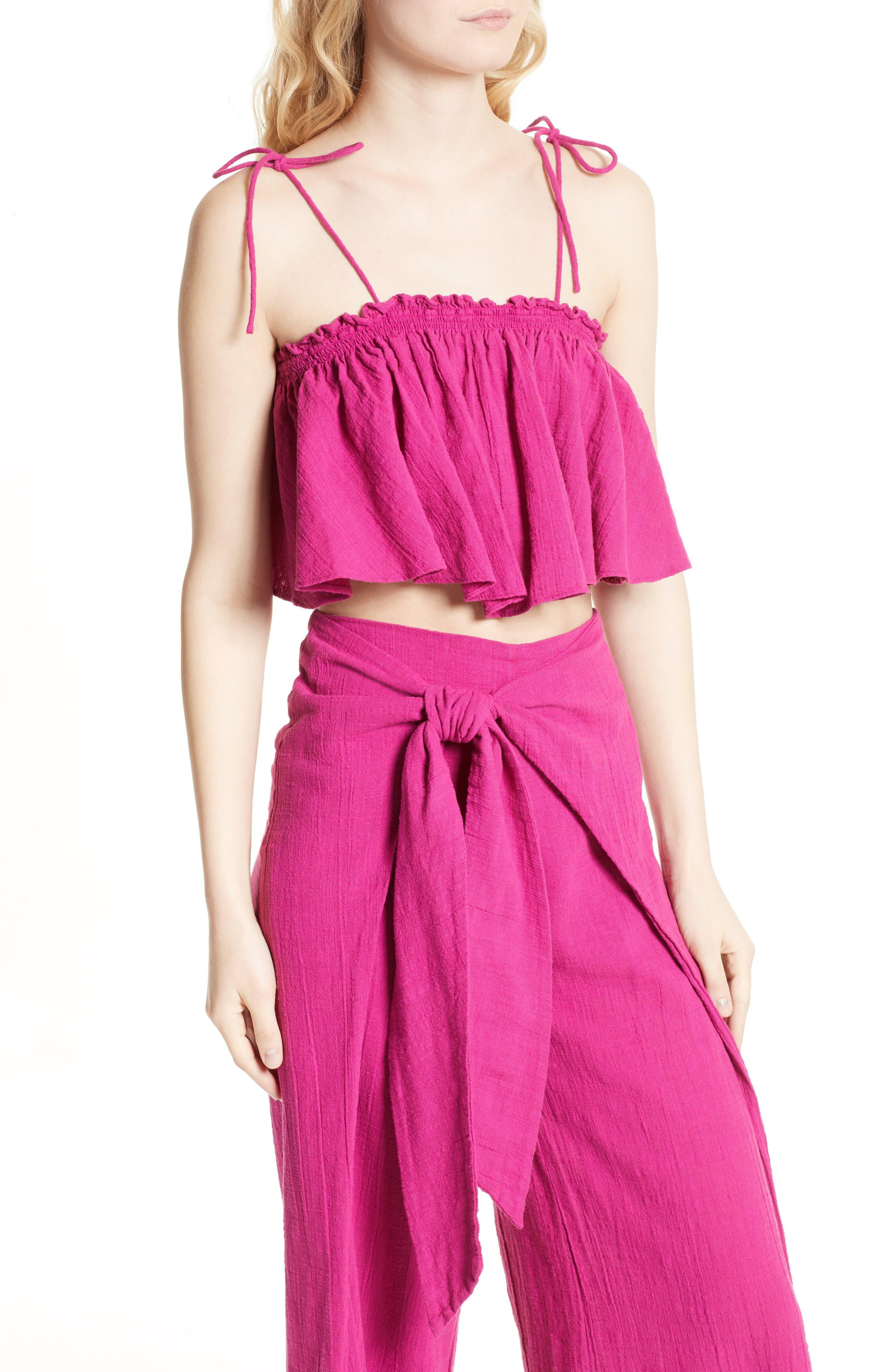 Alternate Image 4  - Free People Tropic Babe Crop Top & High Waist Pants Set