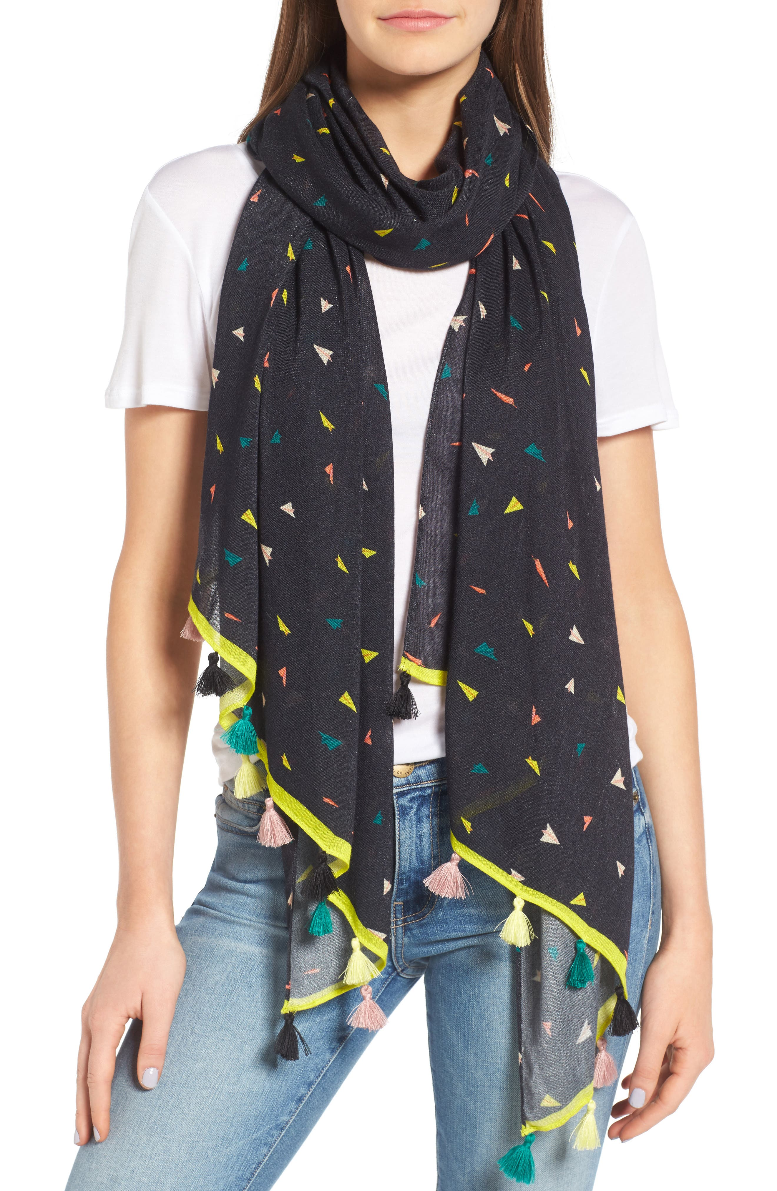 Paper Airplane Oblong Scarf,                         Main,                         color, Black