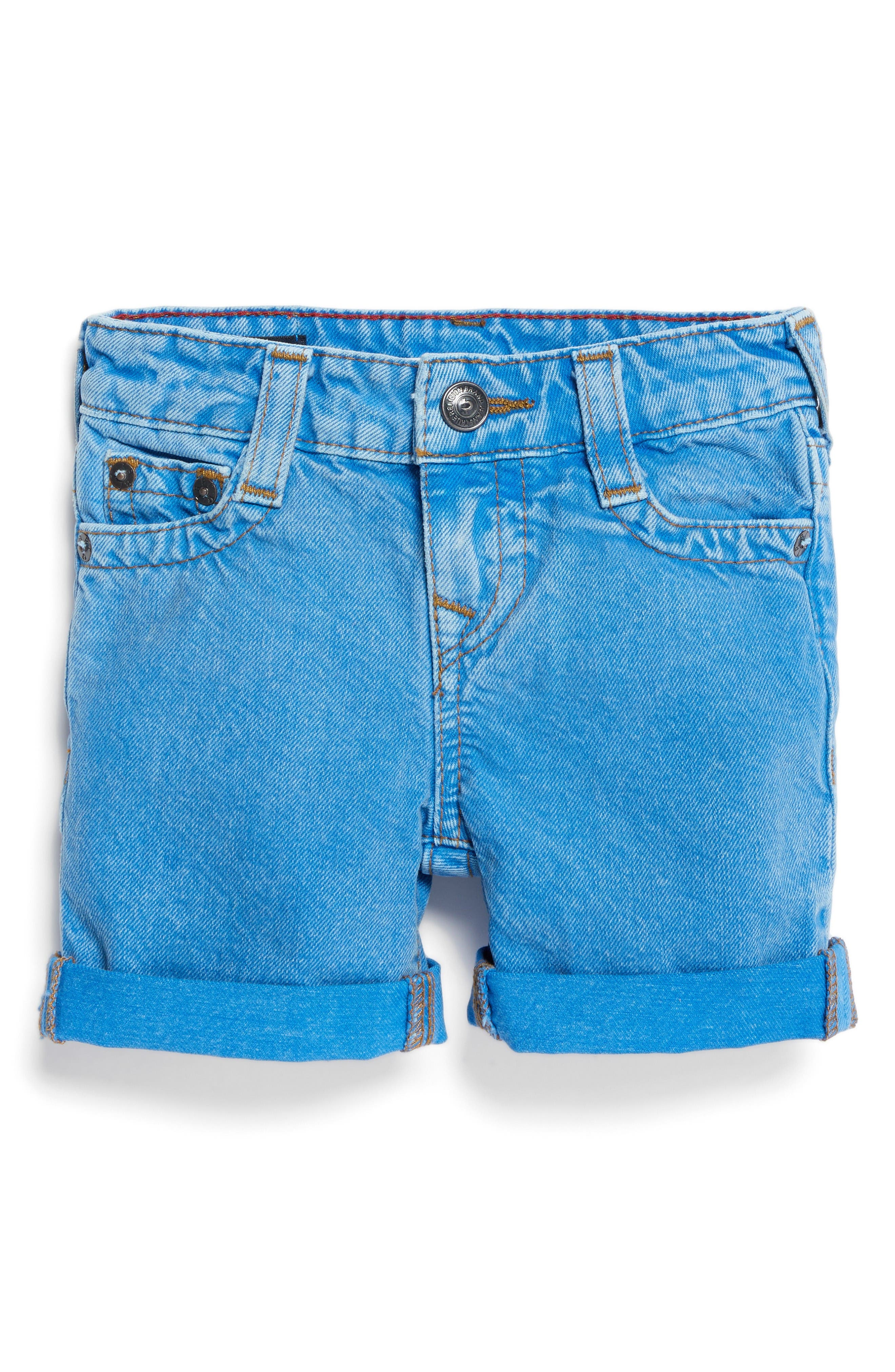 True Religion Geno Denim Shorts,                             Main thumbnail 1, color,                             Bright Blue