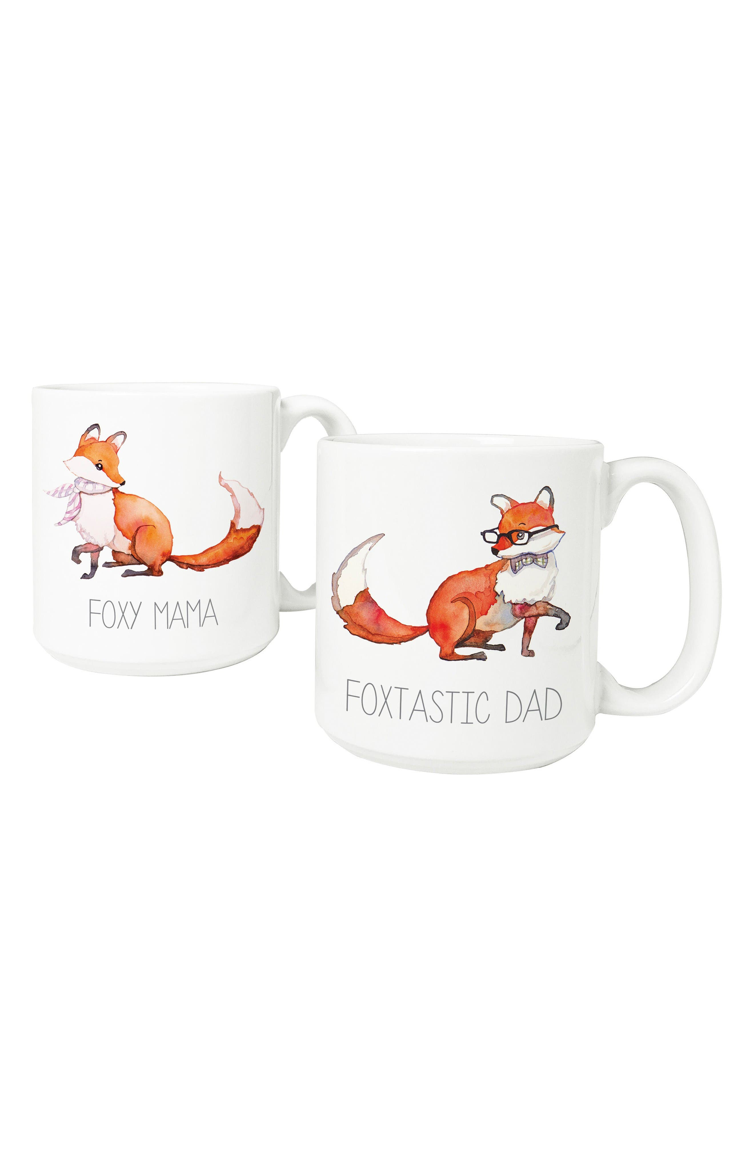 Mom & Dad Fox Set of 2 Coffee Mugs,                         Main,                         color, White
