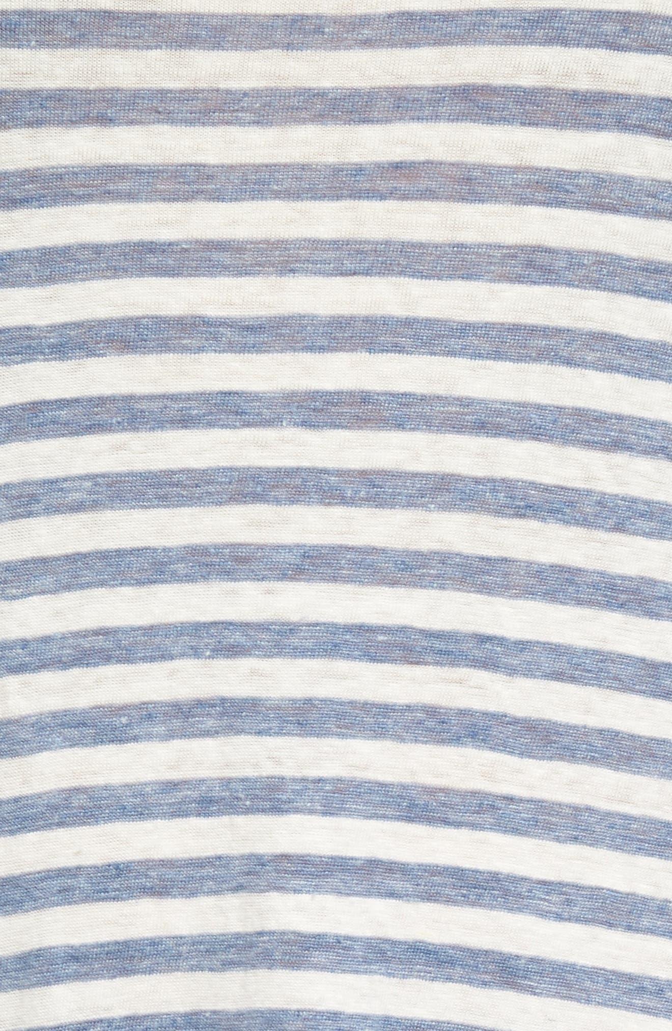 Avril Linen Tank Dress,                             Alternate thumbnail 5, color,                             Heather Blue/ Powder White