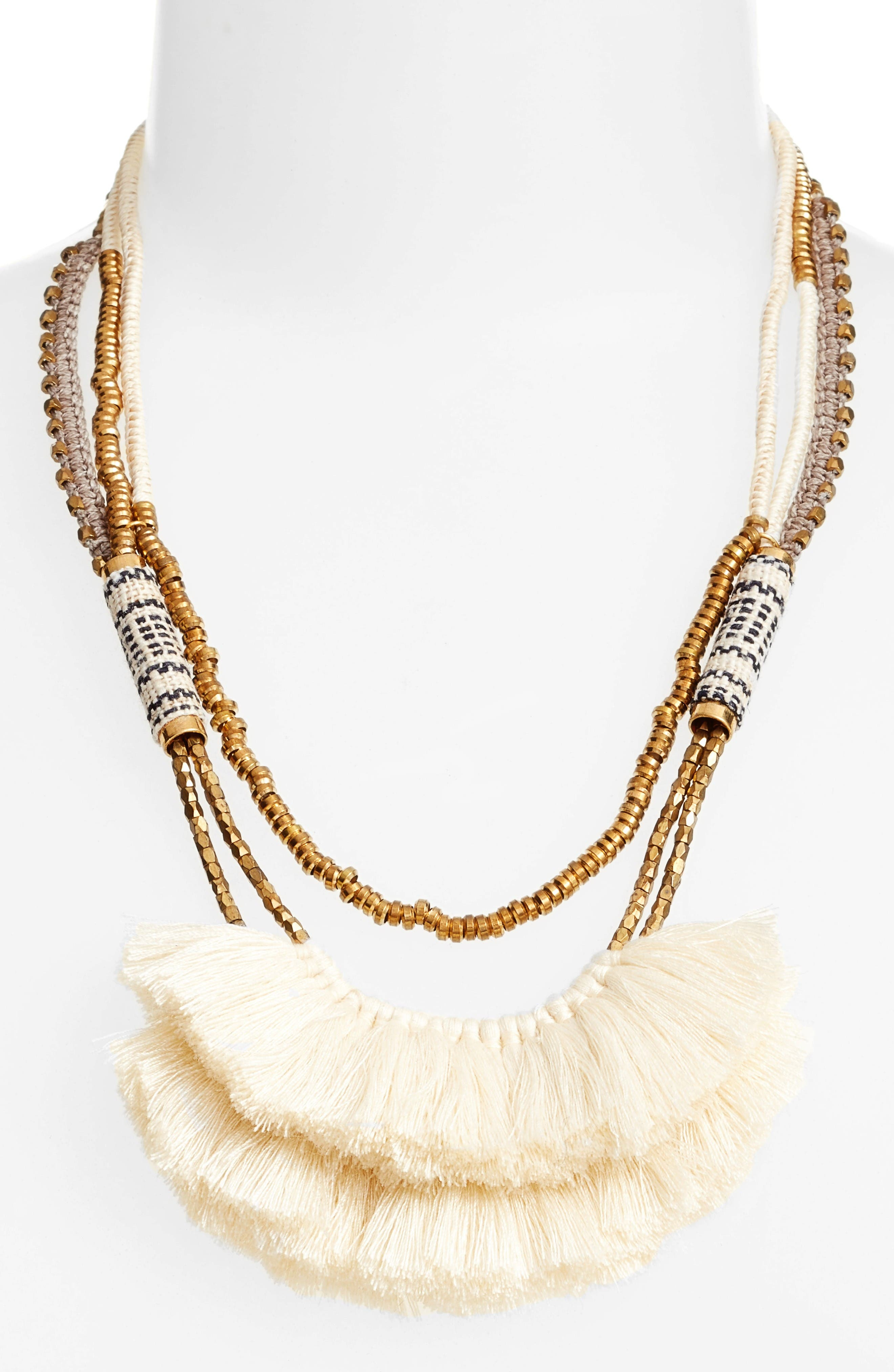 Tassel Statement Necklace,                             Alternate thumbnail 2, color,                             White