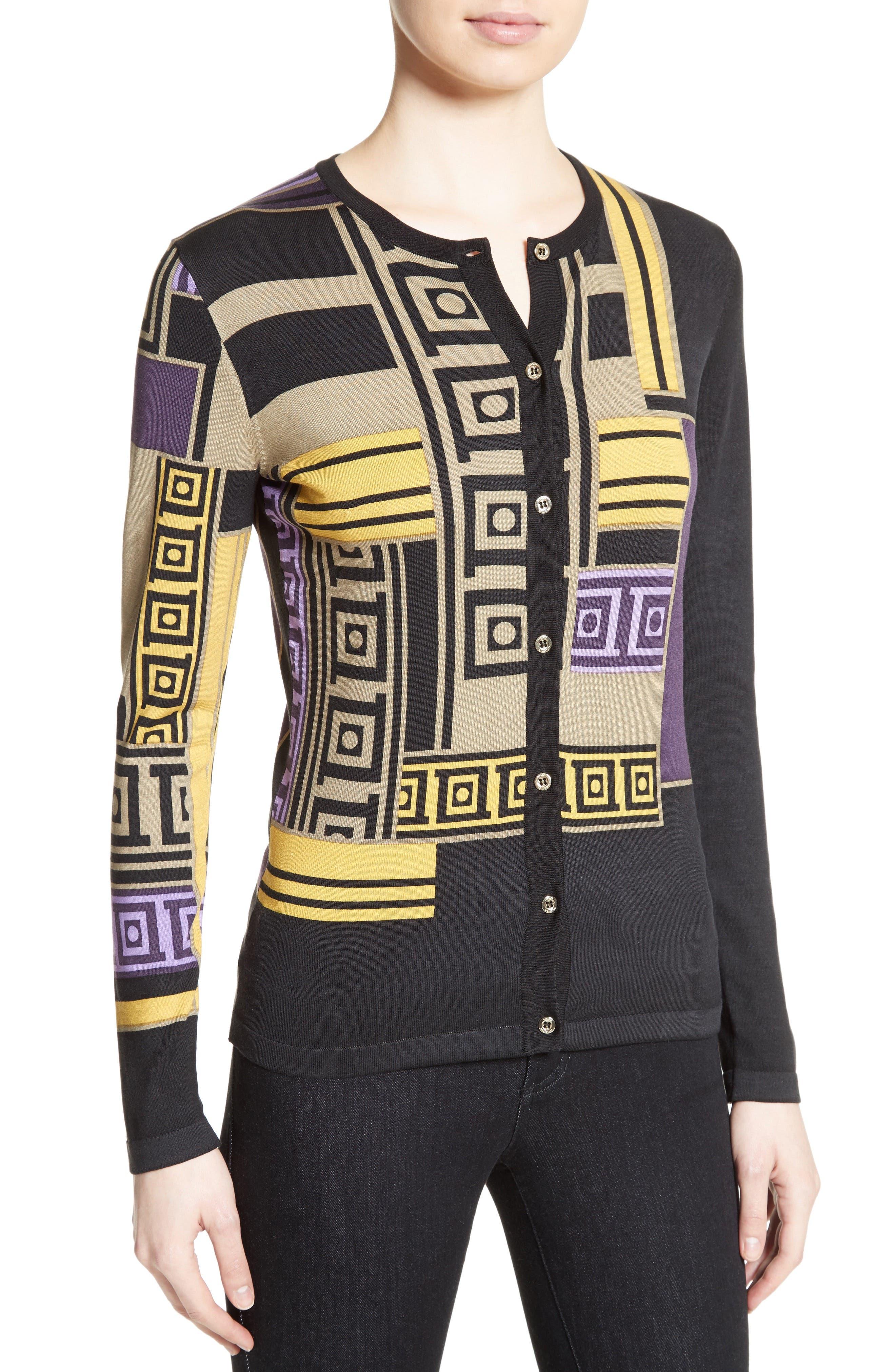 Alternate Image 6  - Versace Collection Tetris Silk Blend Cardigan