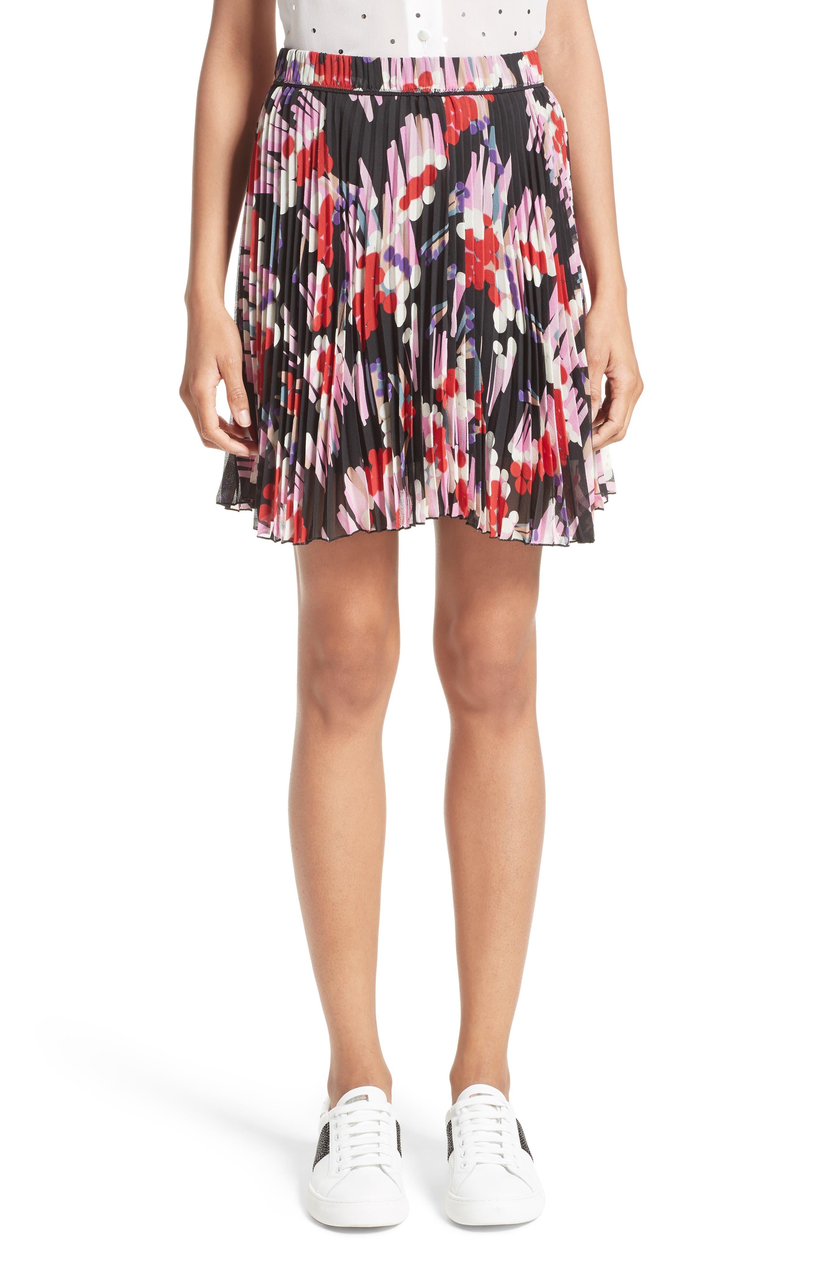 Pleated Print Silk Skirt,                         Main,                         color, Black Multi