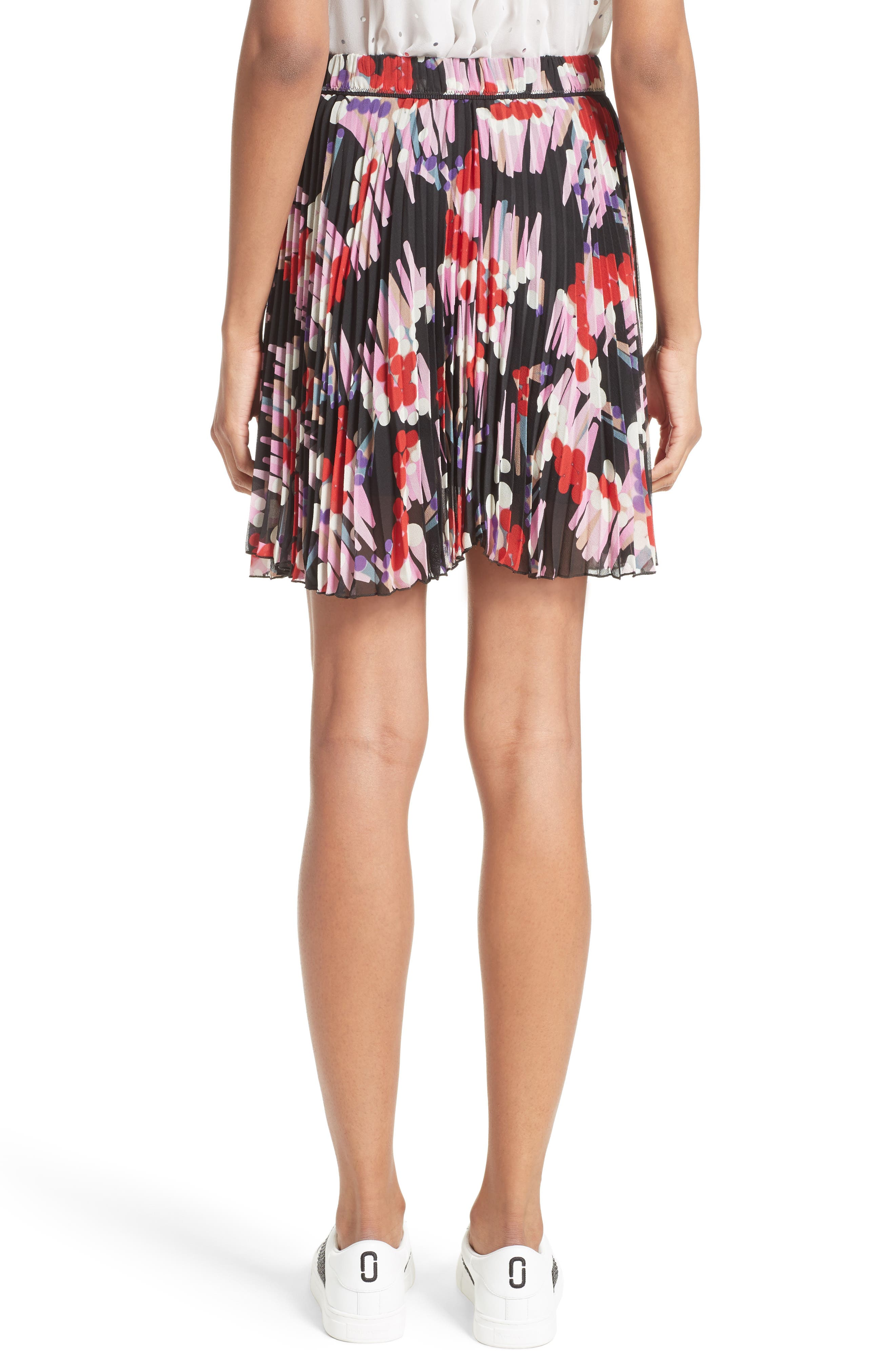 Pleated Print Silk Skirt,                             Alternate thumbnail 2, color,                             Black Multi