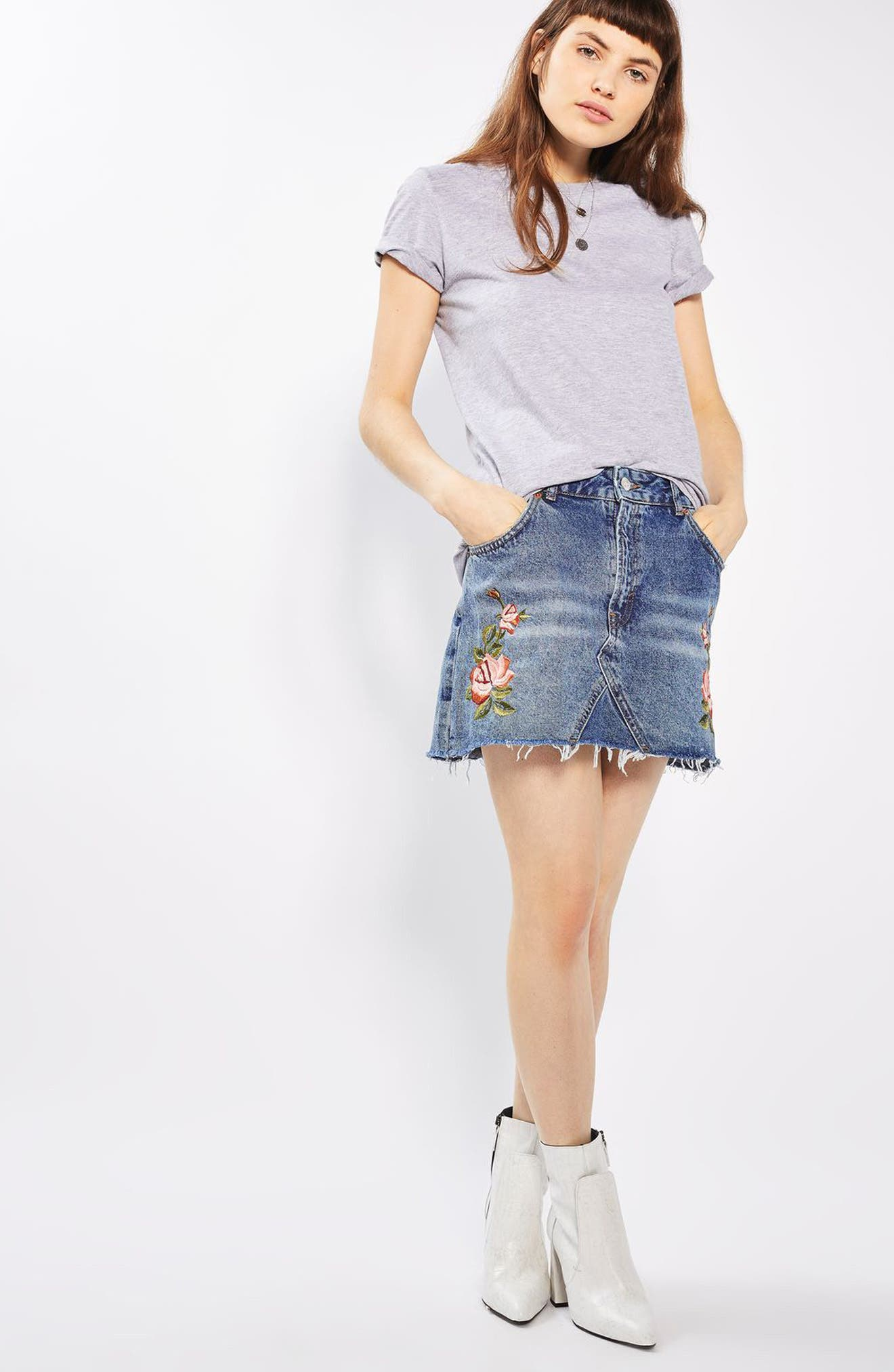 Alternate Image 2  - Topshop Rose Denim Miniskirt (Petite)