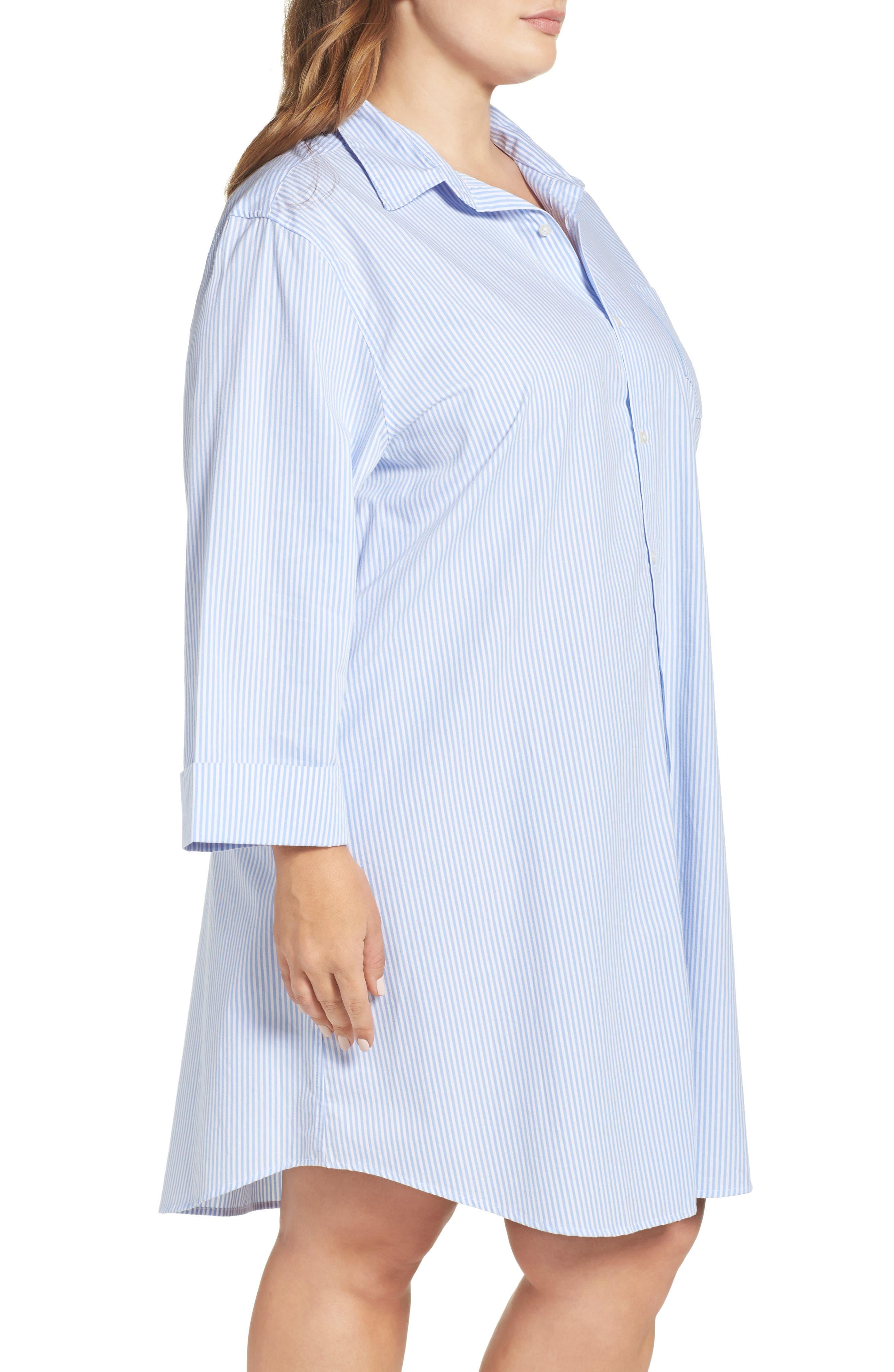 Sleep Shirt,                             Alternate thumbnail 3, color,                             Stripe French Blue/ White