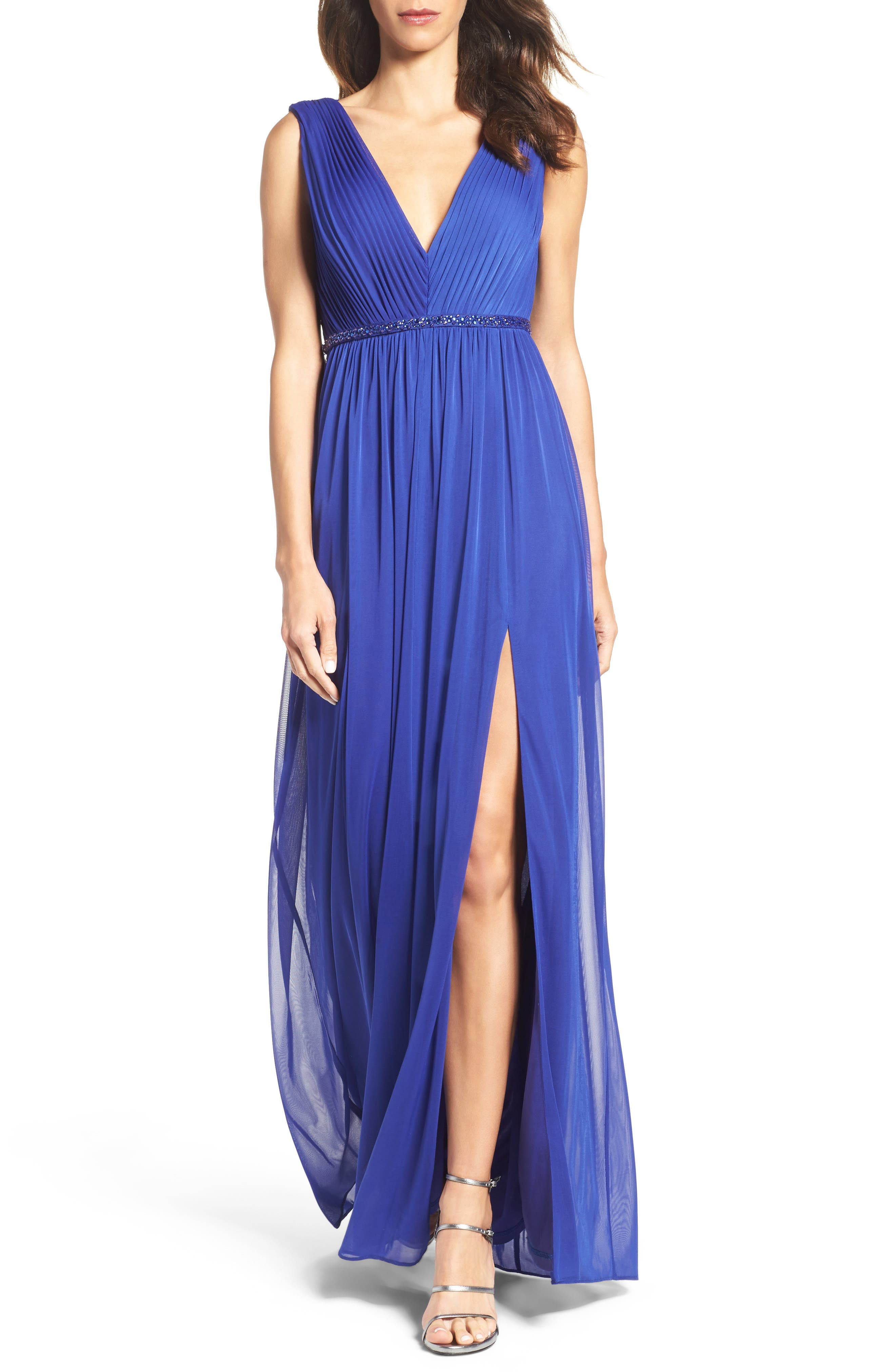 Embellished Shirred Tulle Gown,                         Main,                         color, Neptune