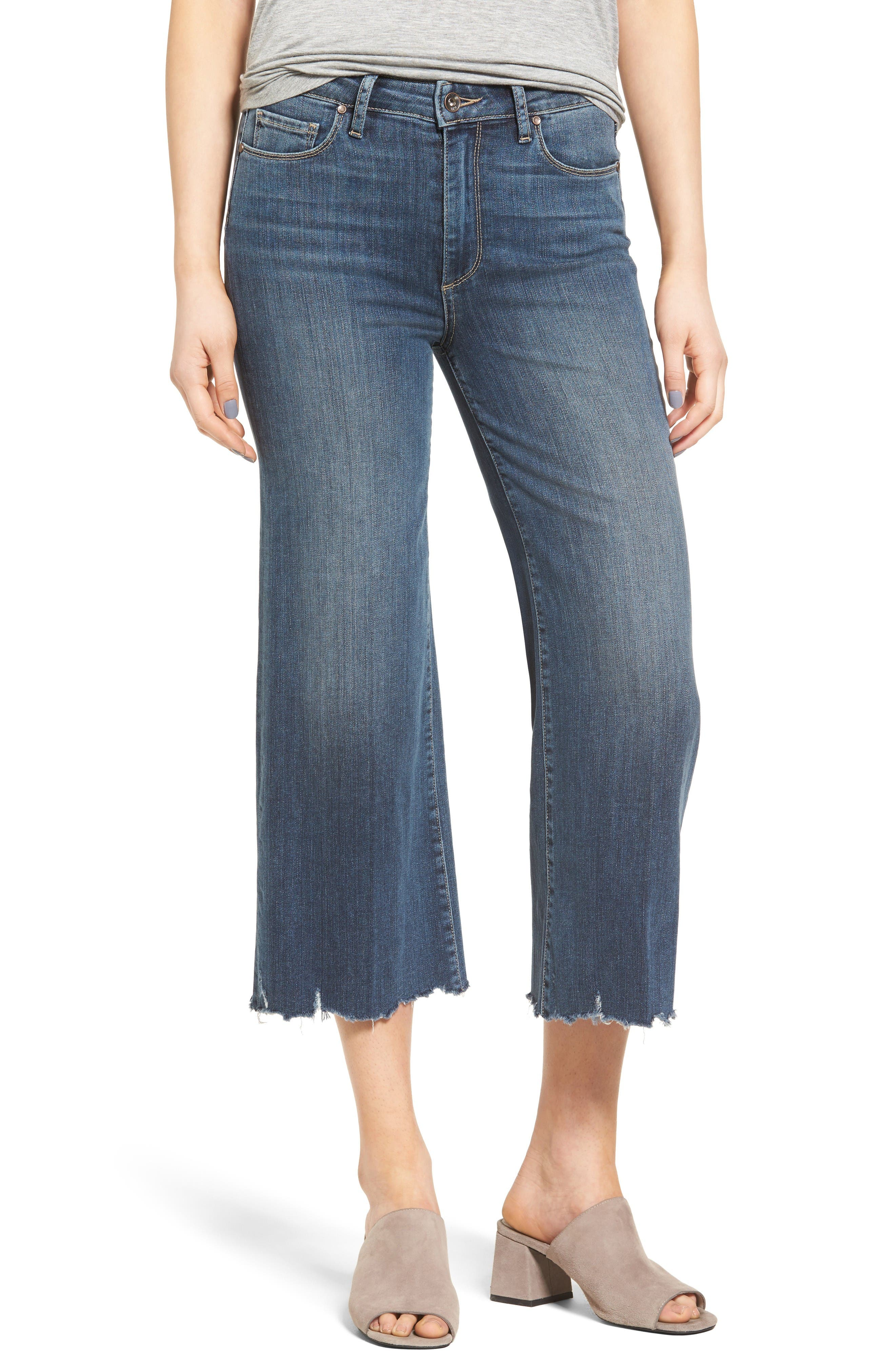 PAIGE Legacy - River High Waist Crop Wide Leg Jeans (Distressed Izzy)