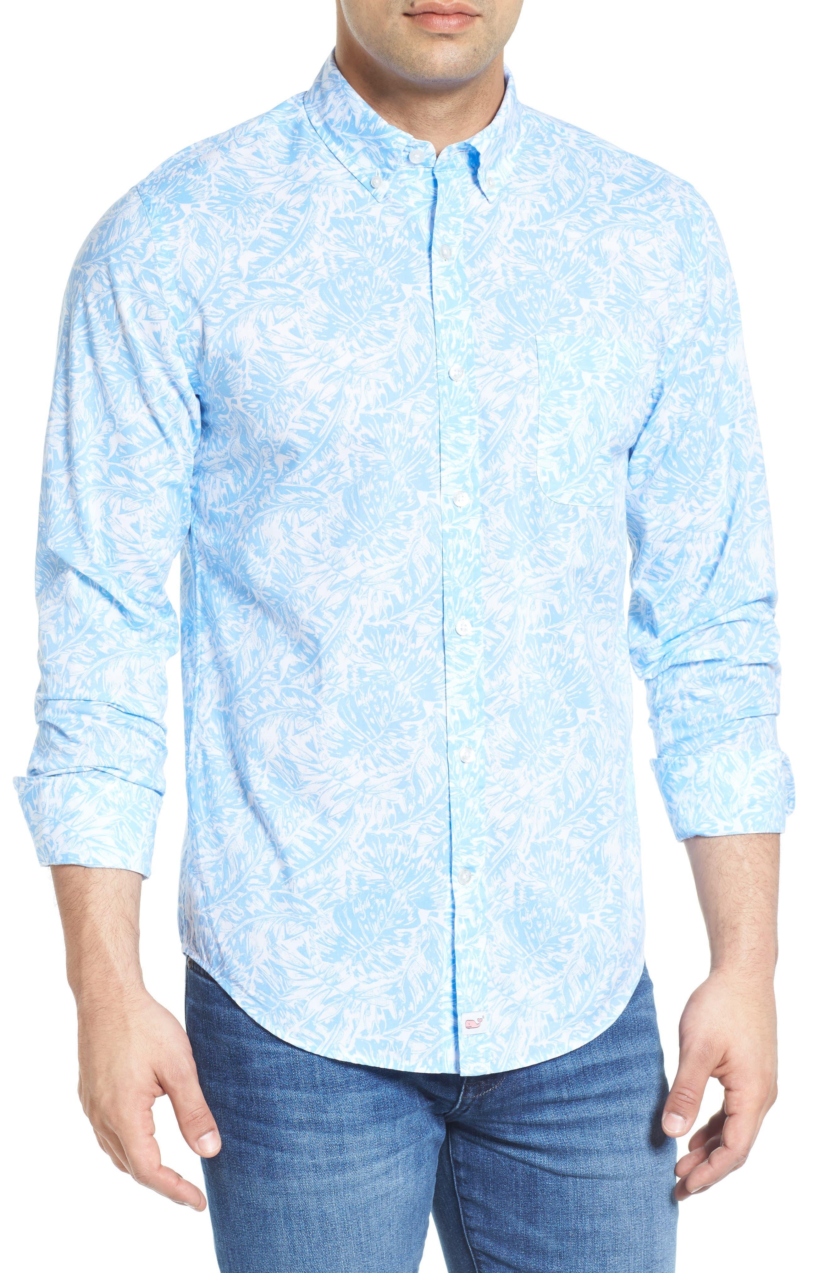 VINEYARD VINES Island Palm Tucker Slim Fit Sport Shirt