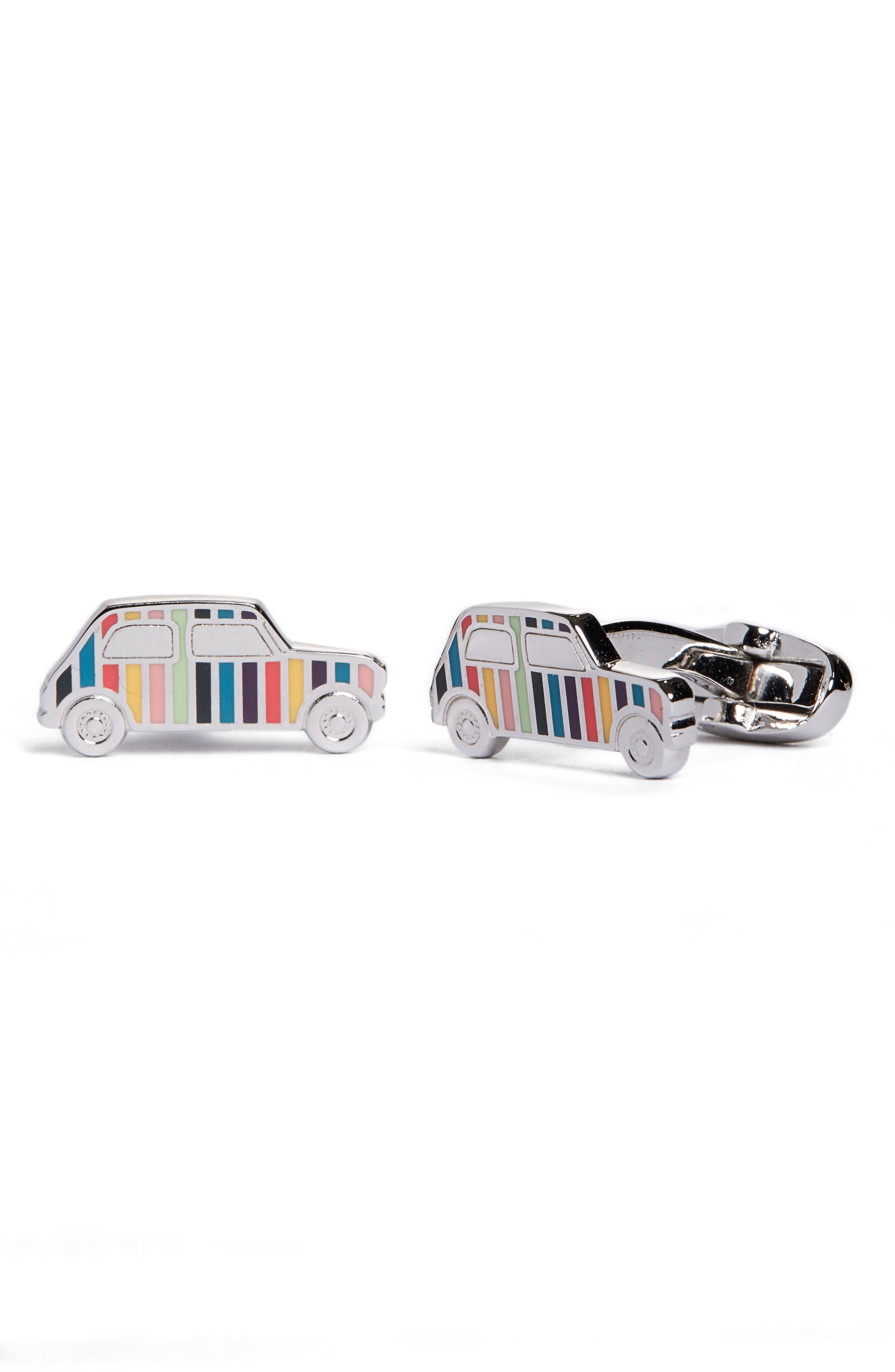 Enamel Stripe Car Cuff Links,                         Main,                         color, Metallic Silver