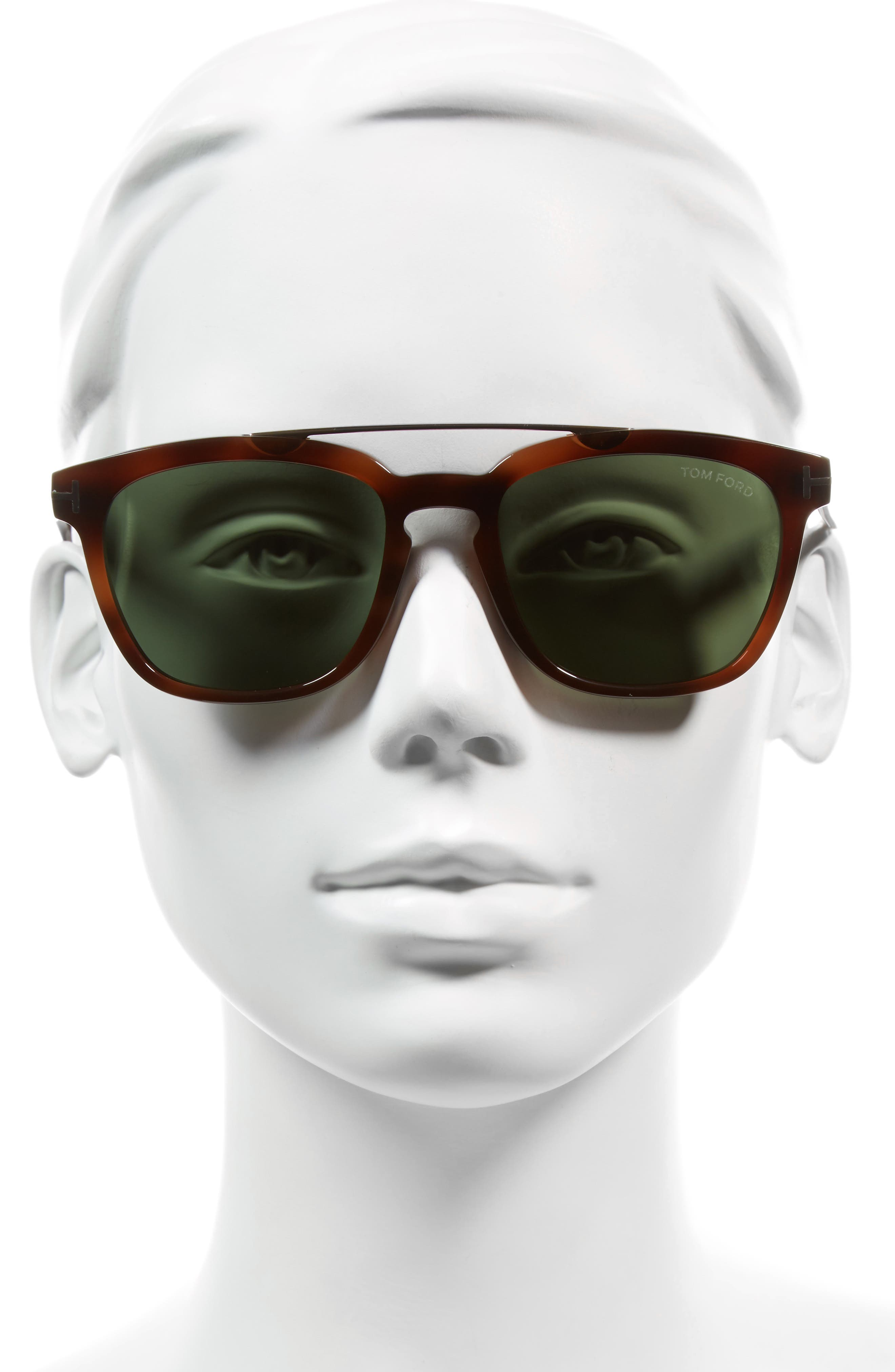 54mm Double Brow Bar Sunglasses,                             Alternate thumbnail 2, color,                             Blonde/ Rose Gold/ Green