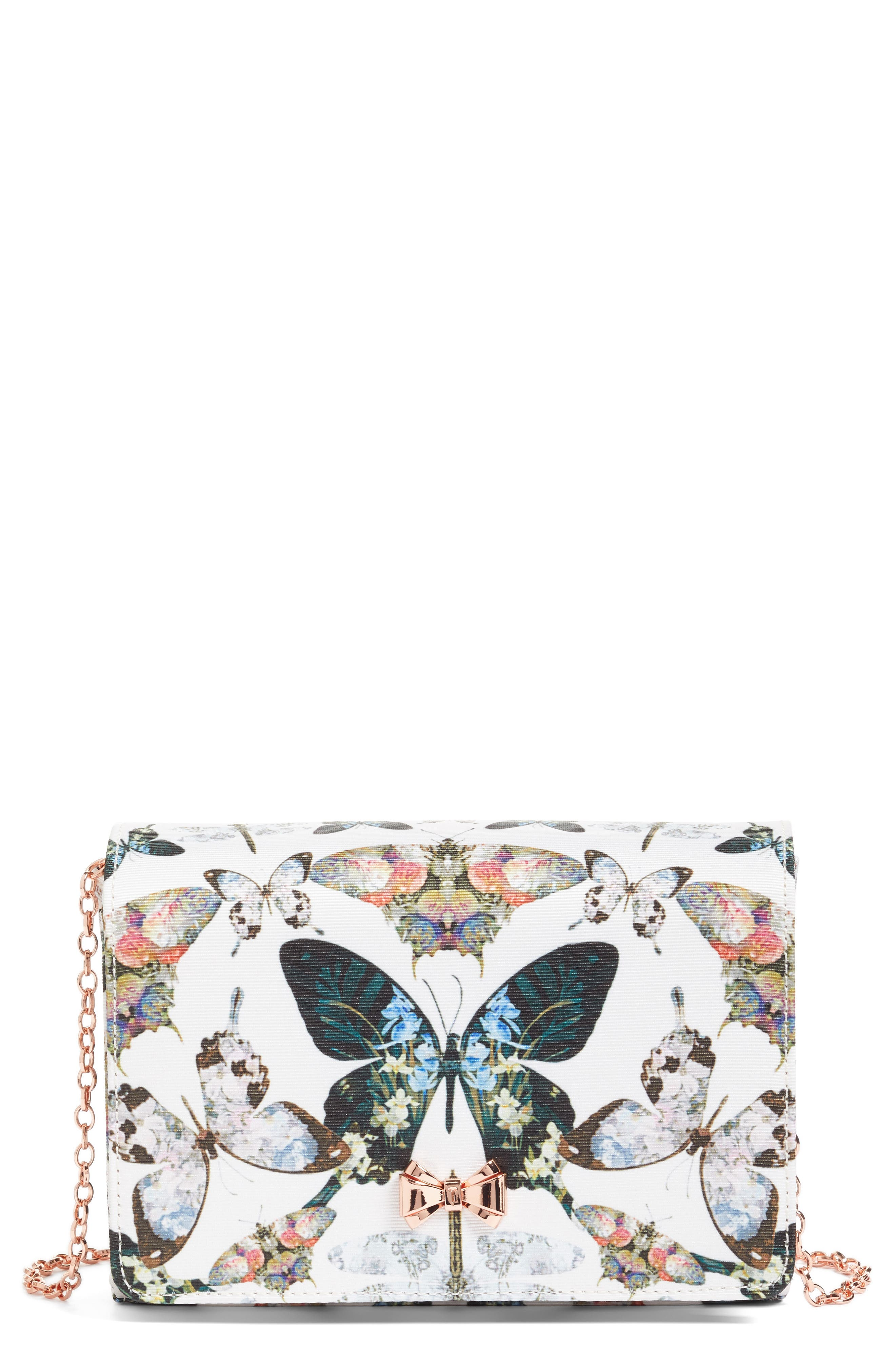 Strisa Butterfly Print Clutch,                             Main thumbnail 1, color,                             Cream