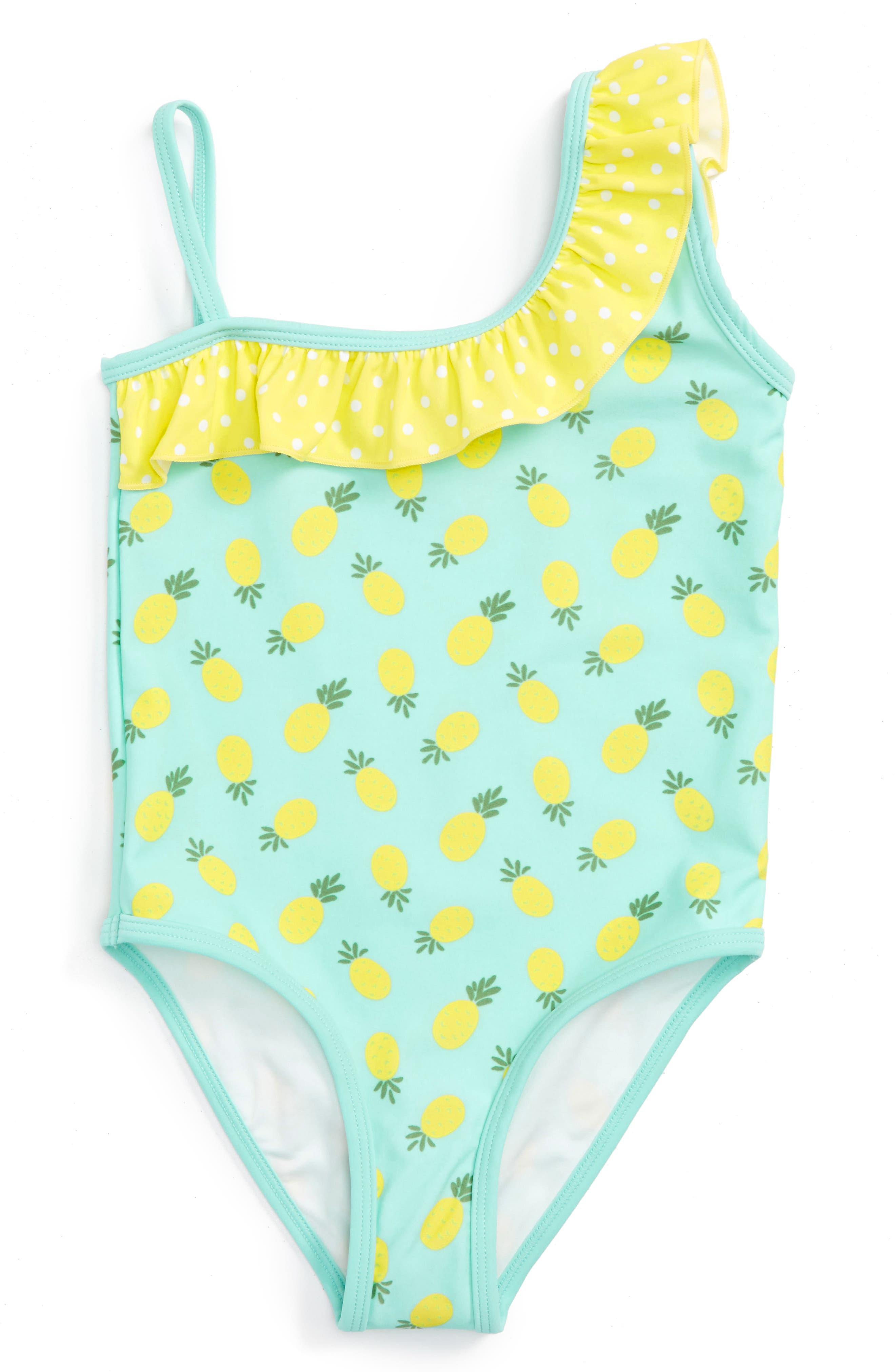 Pineapple Ruffle One-Piece Swimsuit,                         Main,                         color, Teal Angel Pineapples
