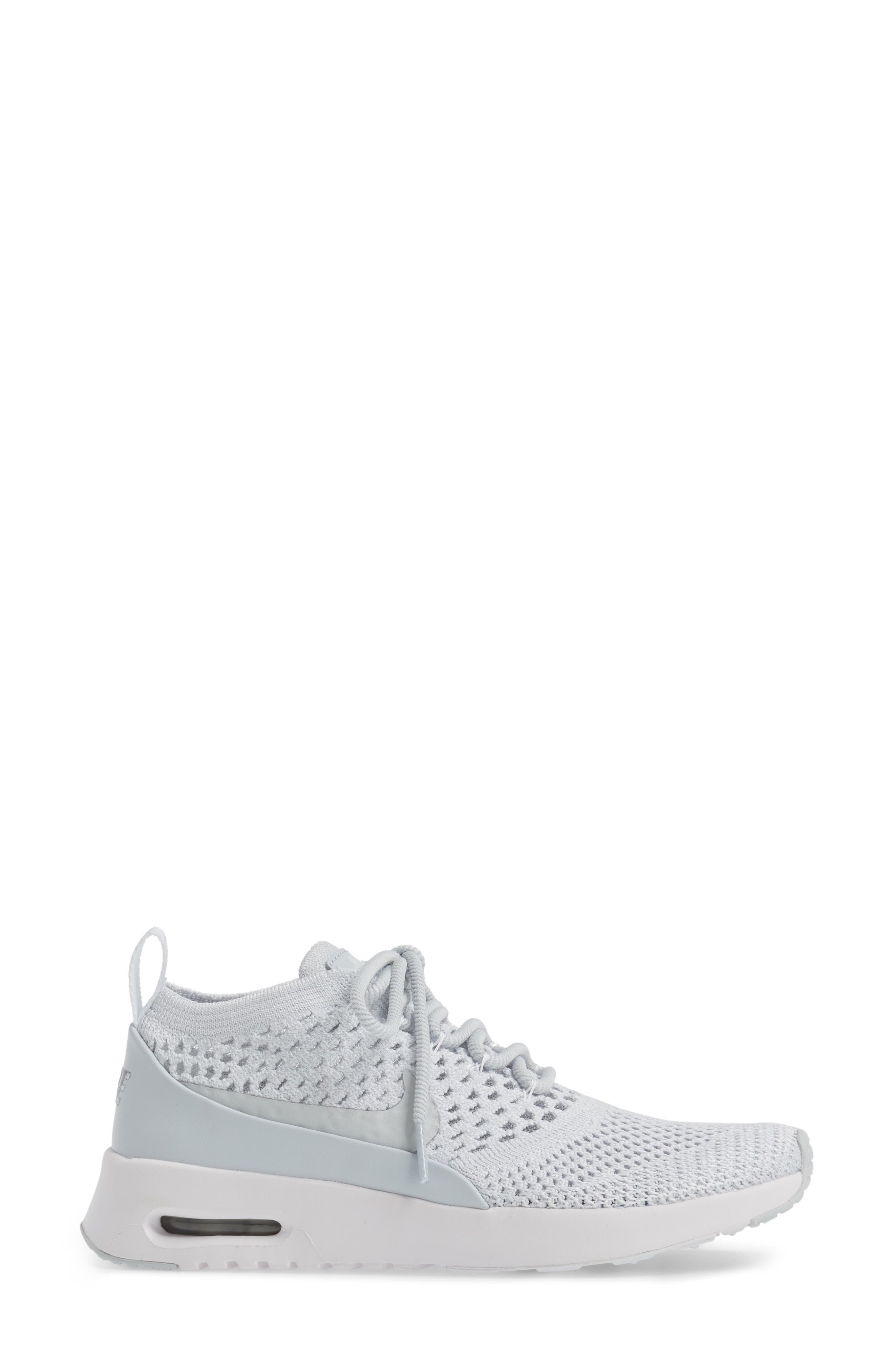 Air Max Thea Ultra Flyknit Sneaker,                             Alternate thumbnail 3, color,                             Pure Platinum/ White