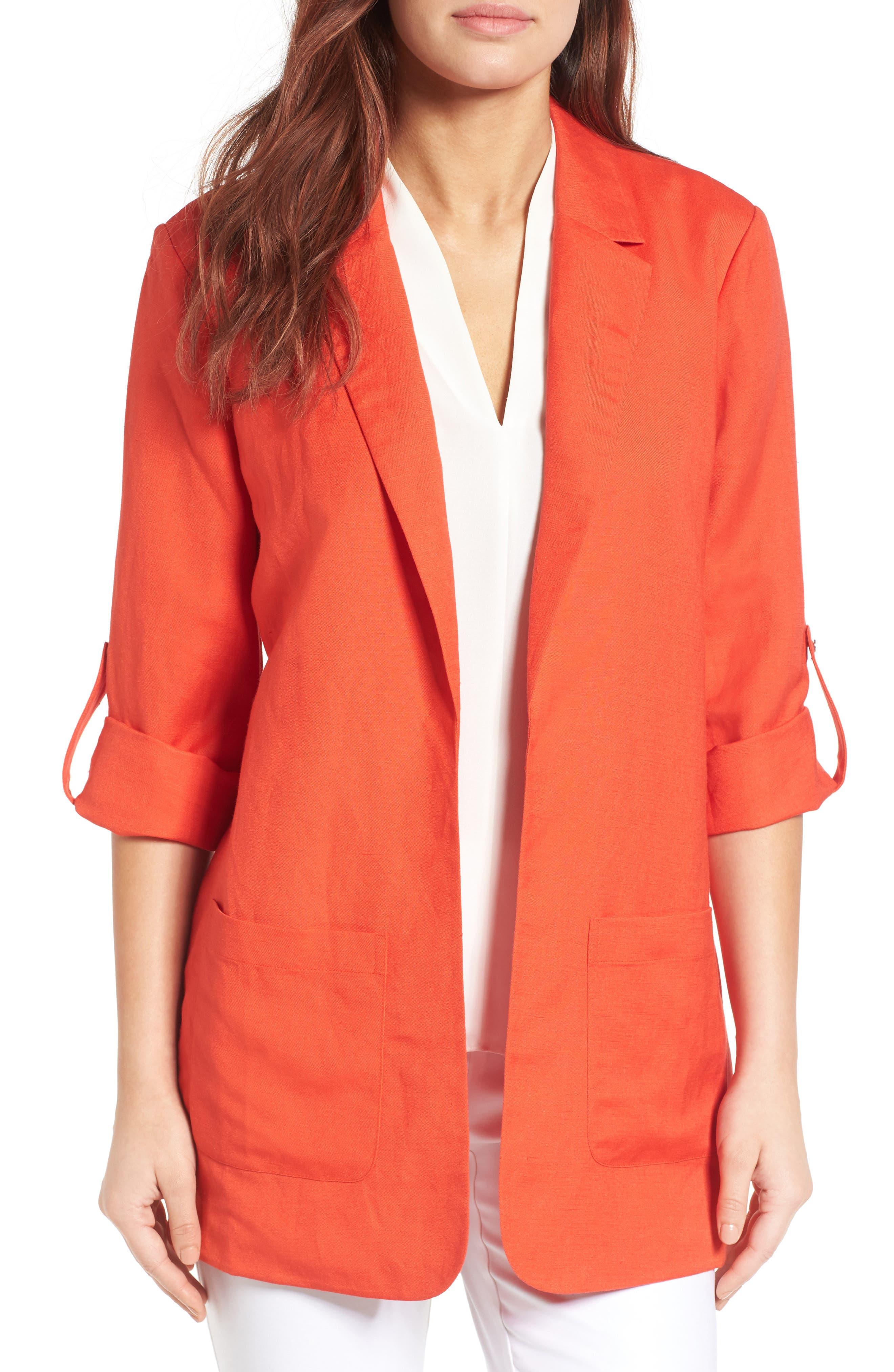 Chaus Linen Blend Roll Tab Jacket