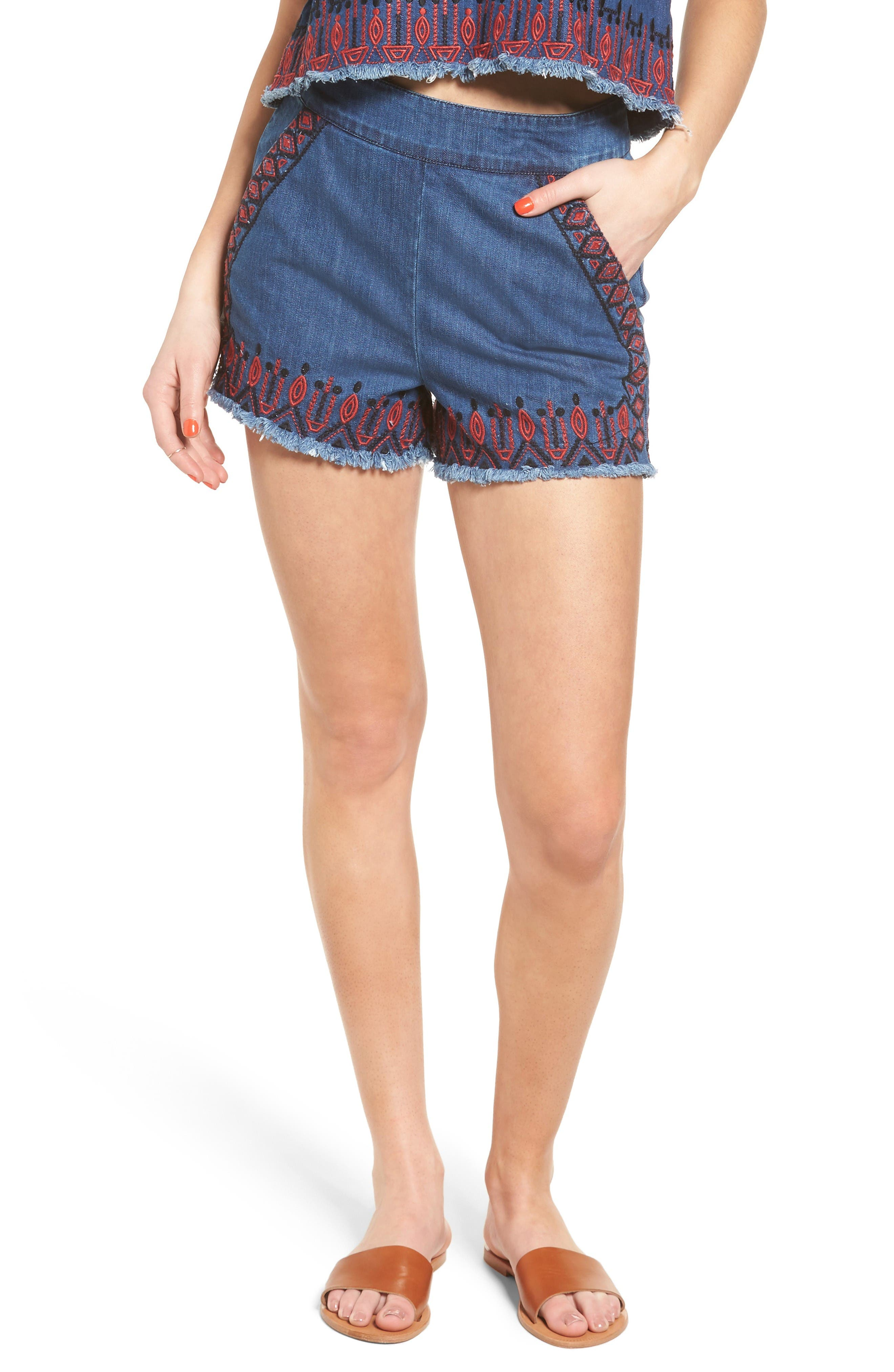 Alternate Image 1 Selected - BLANKNYC Embroidered Denim Shorts (Wild Ones)