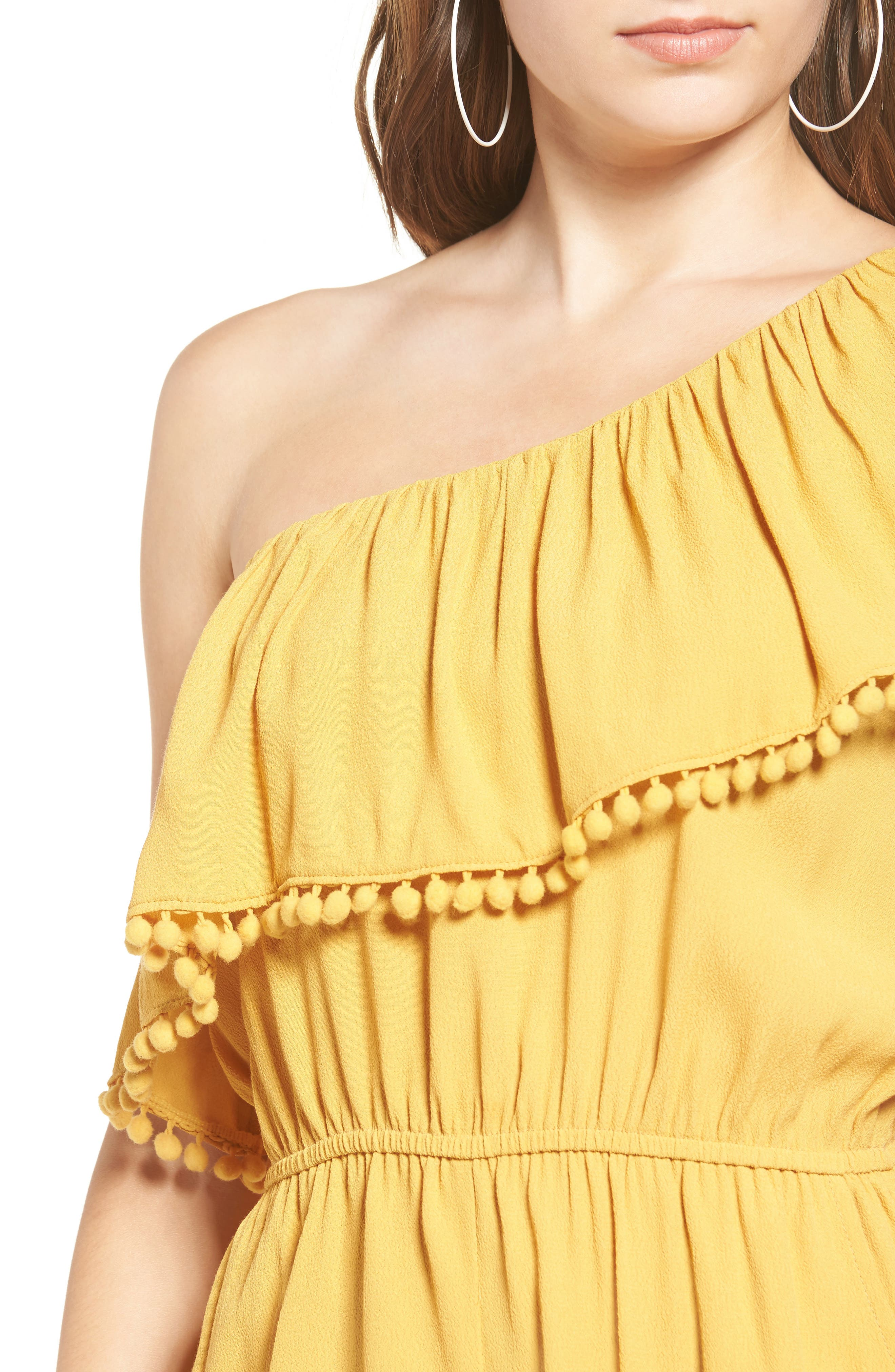 One-Shoulder Ruffle Romper,                             Alternate thumbnail 5, color,                             Yellow