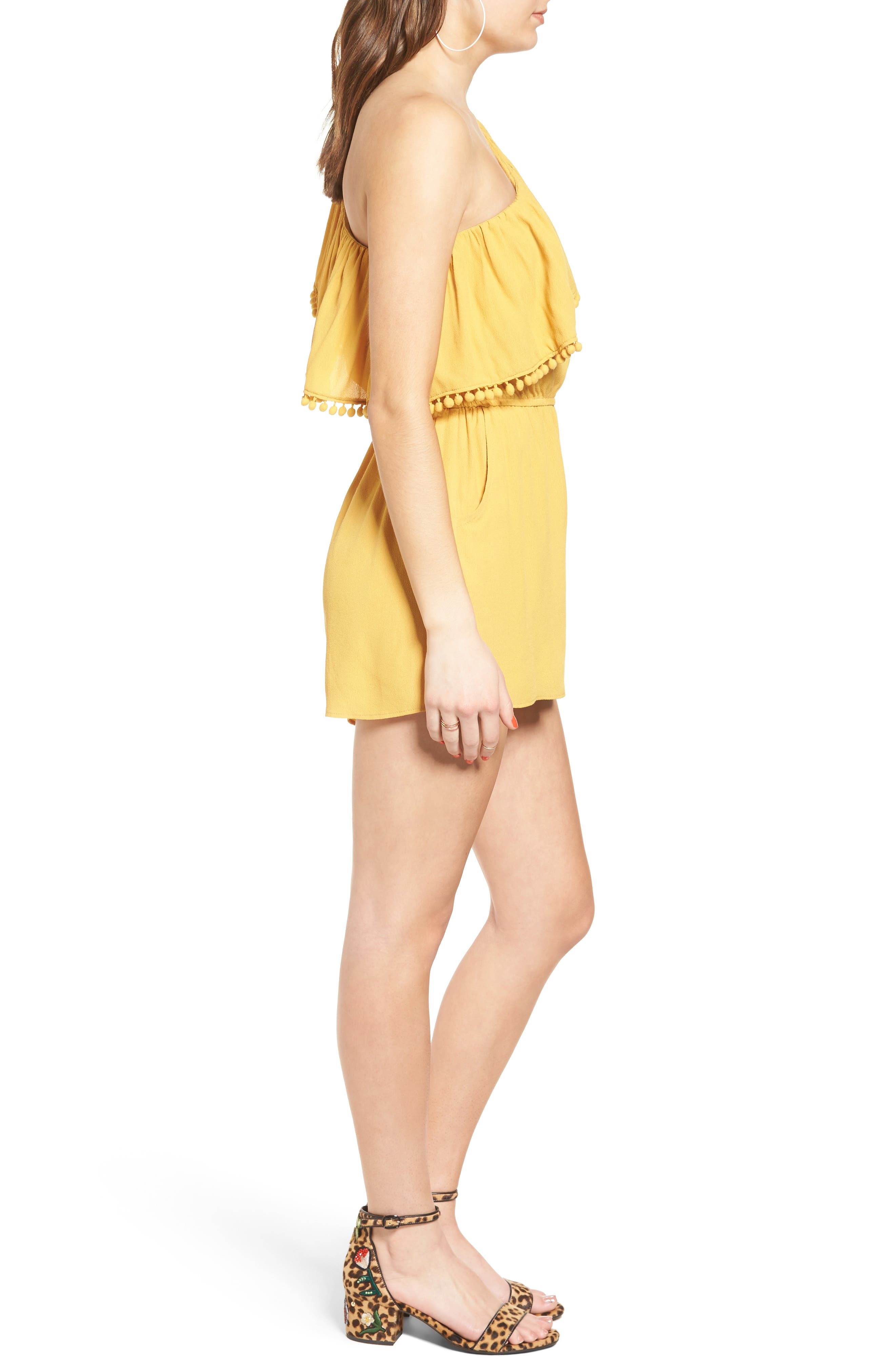 One-Shoulder Ruffle Romper,                             Alternate thumbnail 4, color,                             Yellow