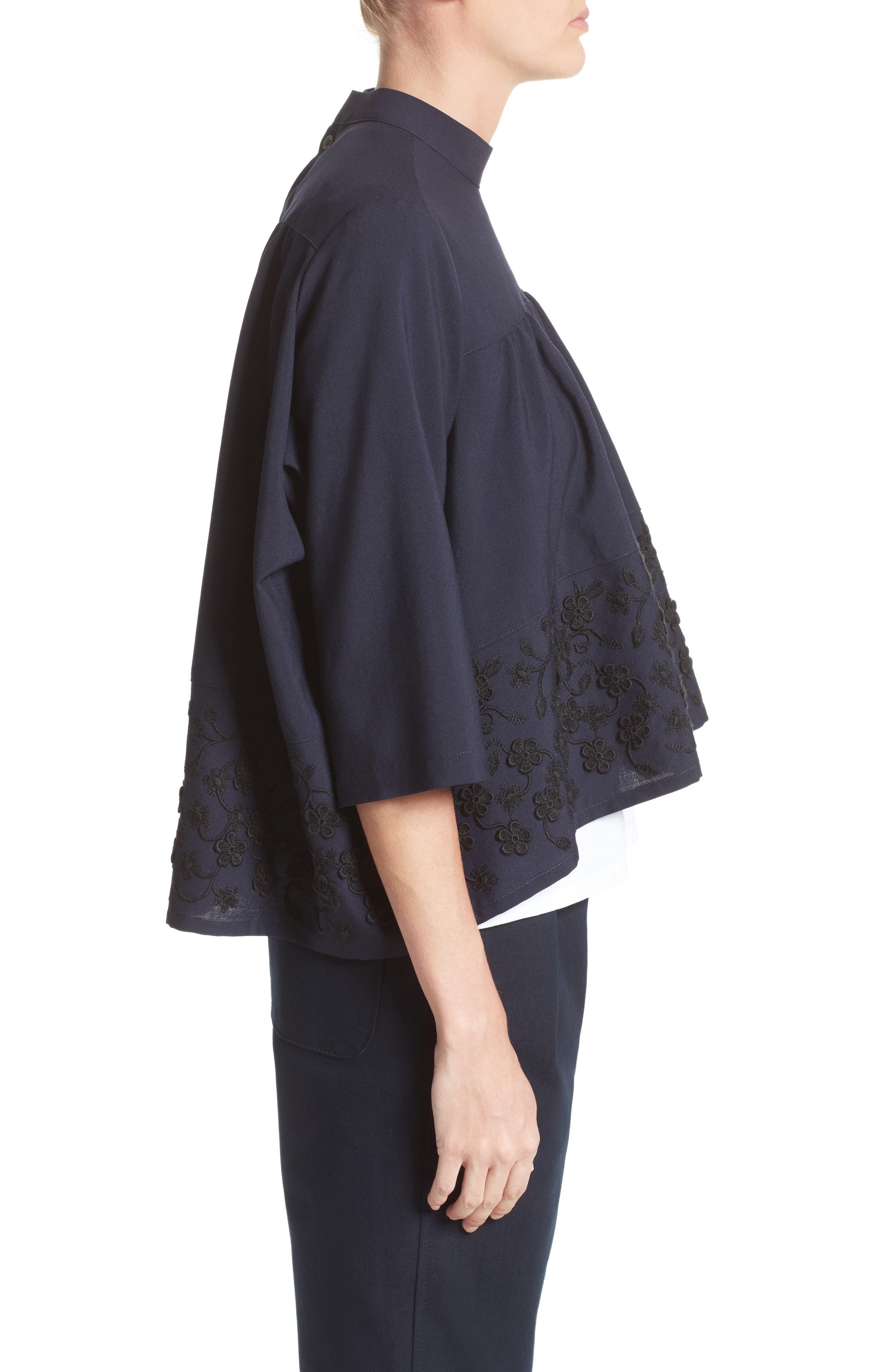 Floral Embroidered Wool Blouse,                             Alternate thumbnail 6, color,                             Navy Black