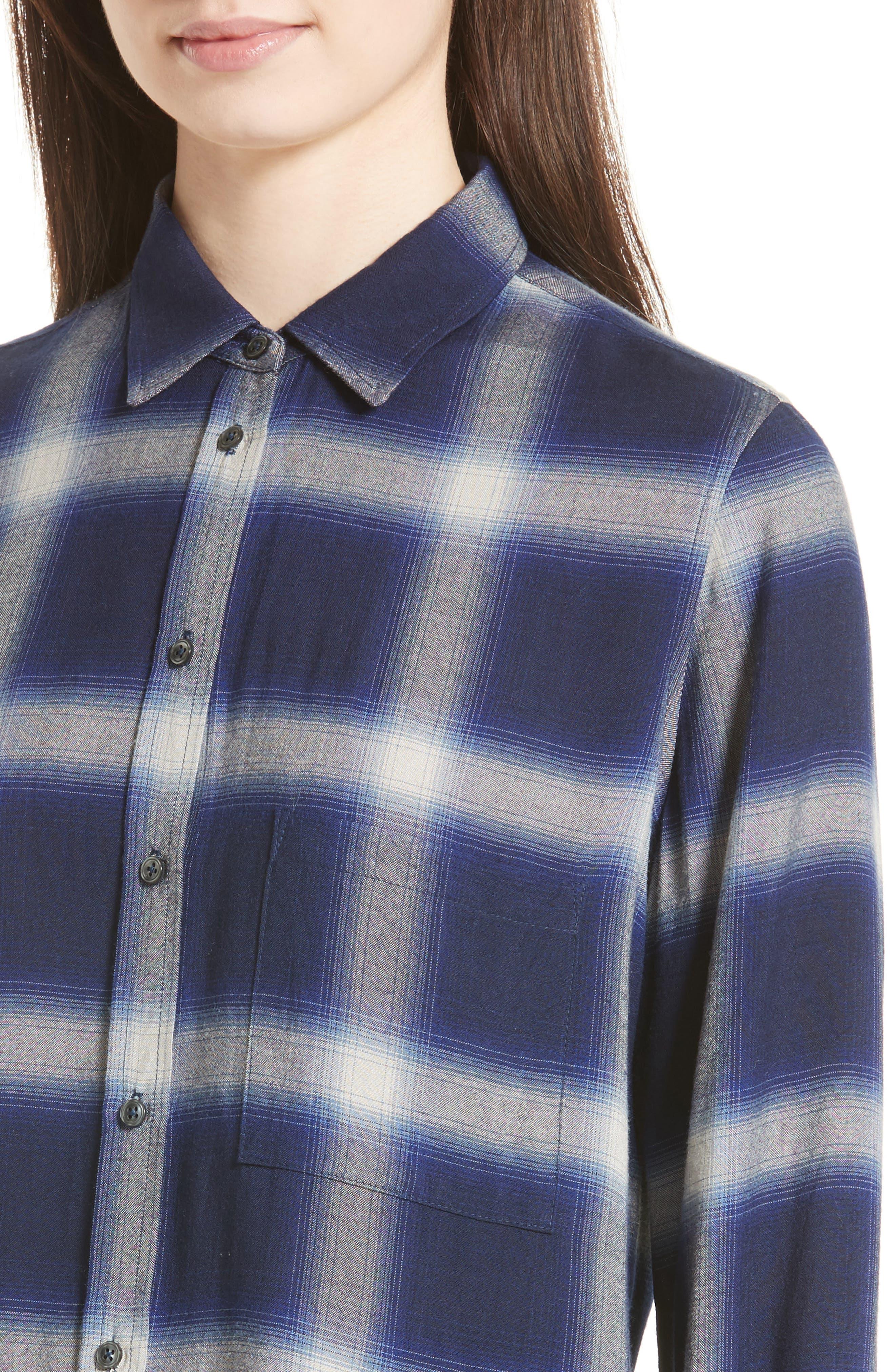 Plaid Utility Shirt,                             Alternate thumbnail 5, color,                             Blue