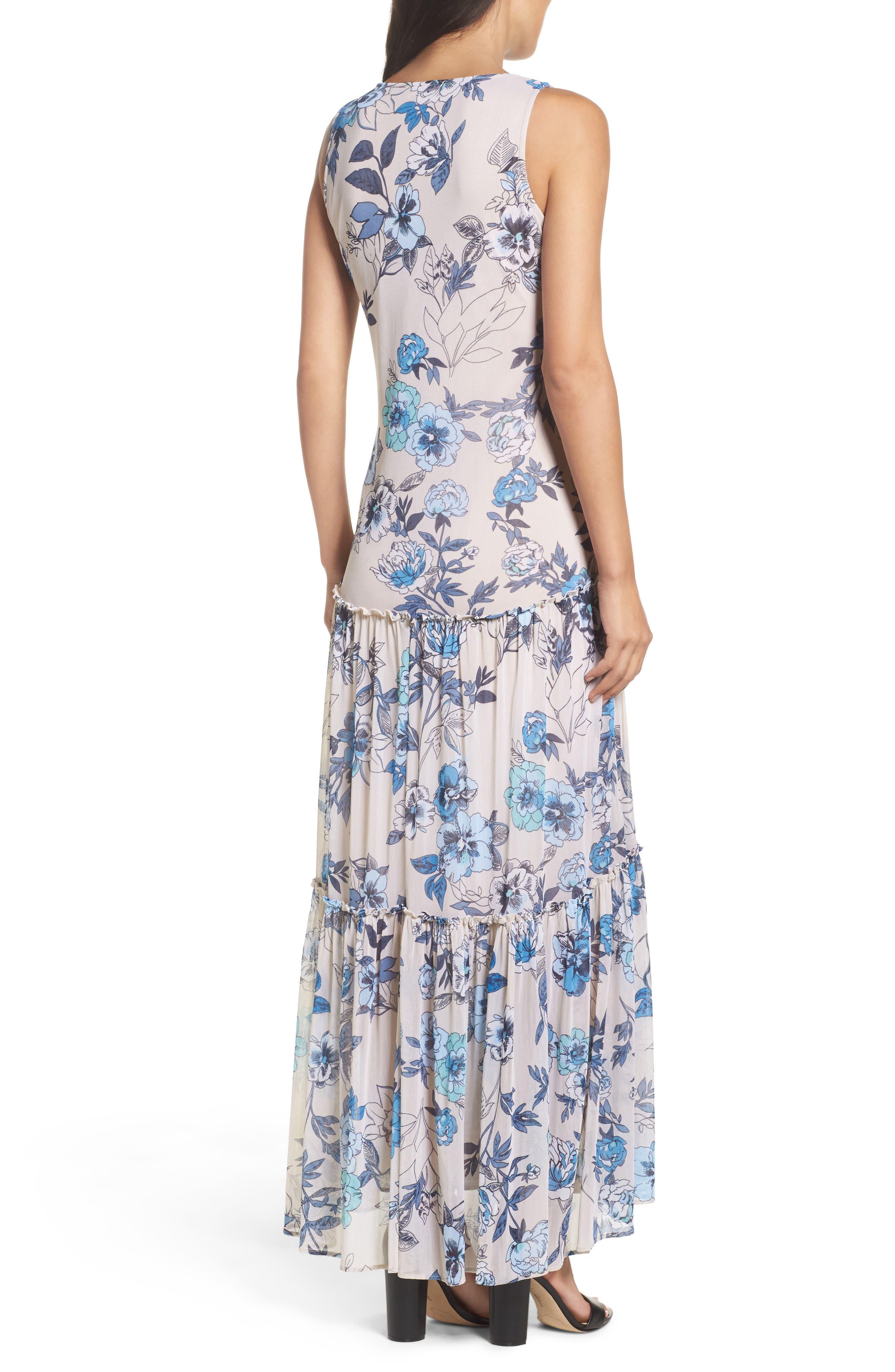 Floral Maxi Dress,                             Alternate thumbnail 2, color,                             Porcelain