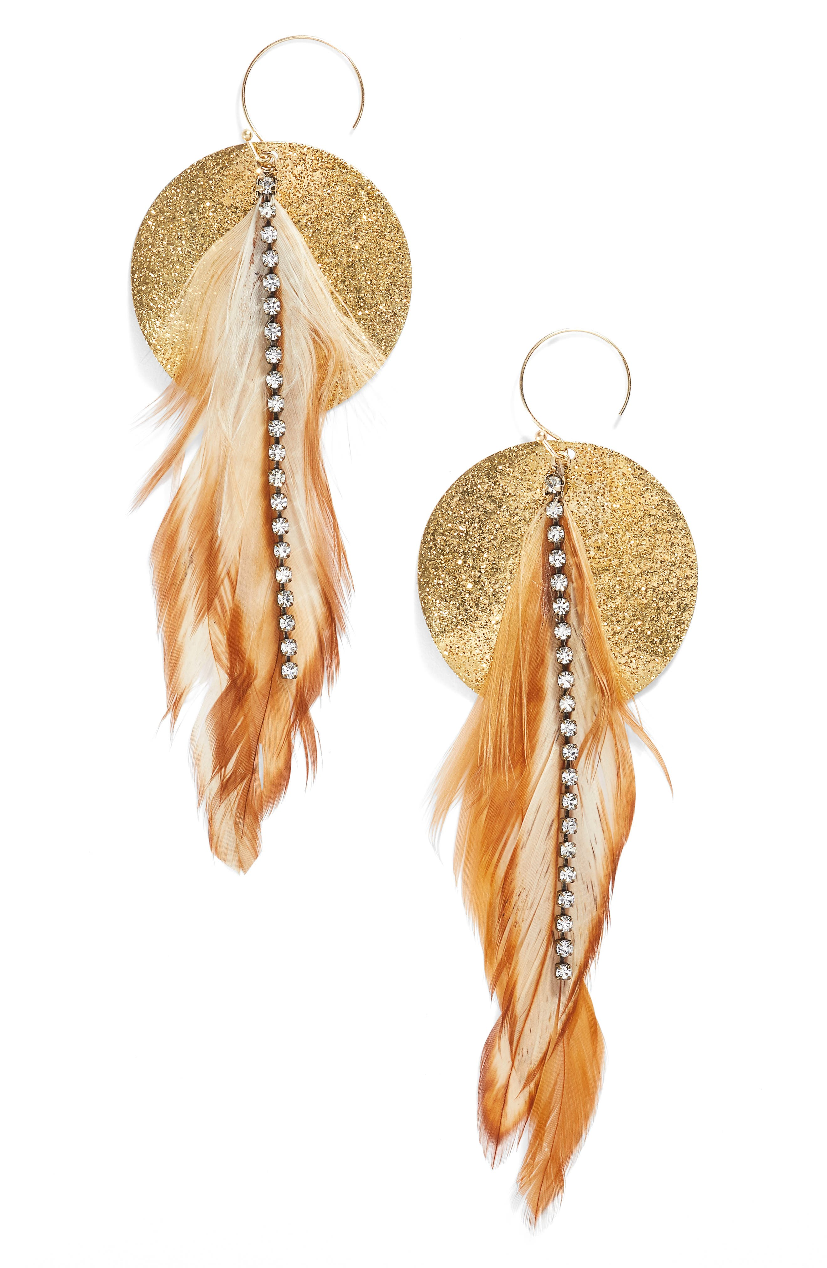 Feather Disk Drop Earrings,                         Main,                         color, Tan