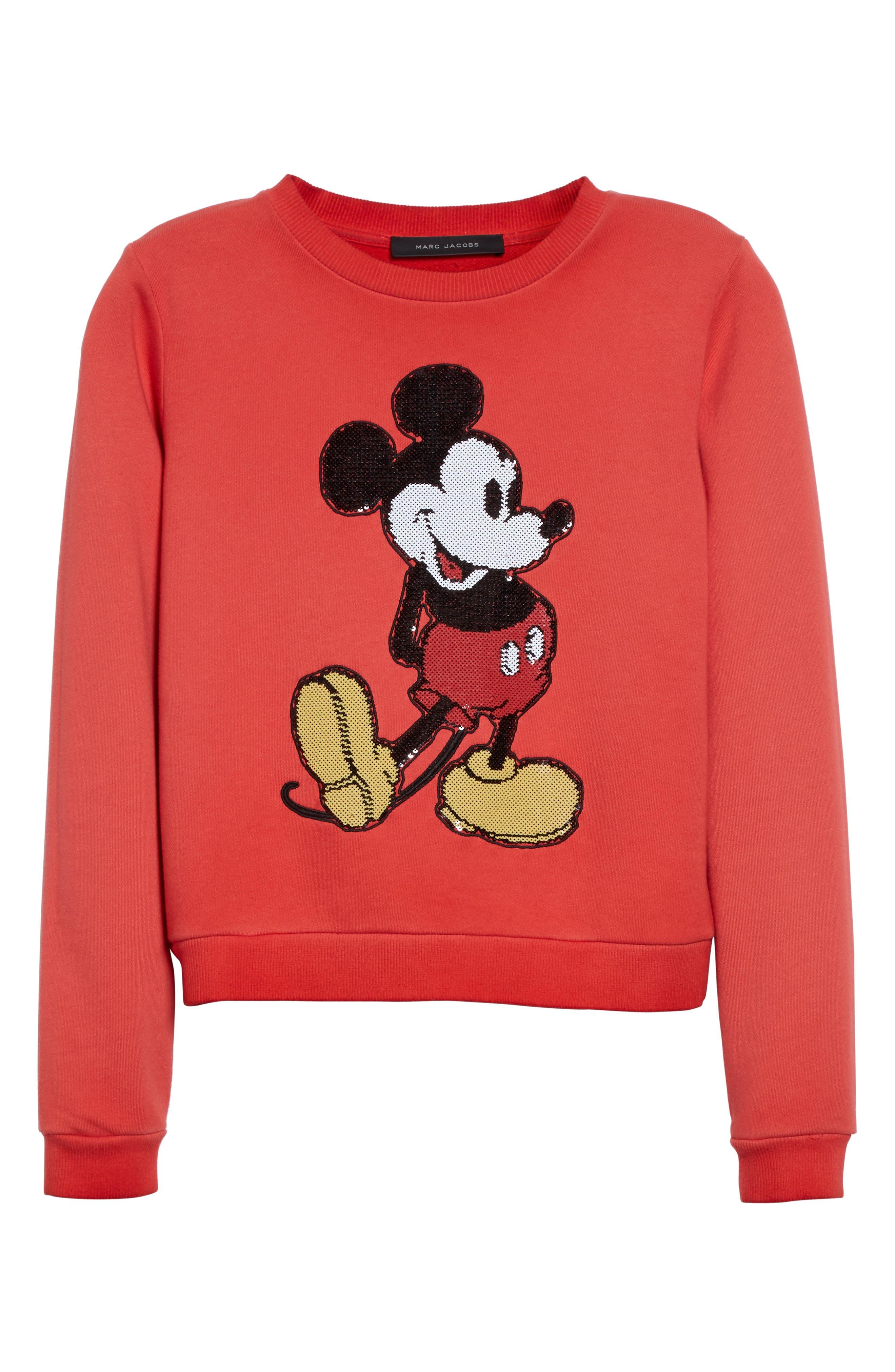 Mickey Shrunken Sweatshirt,                             Alternate thumbnail 4, color,                             Red