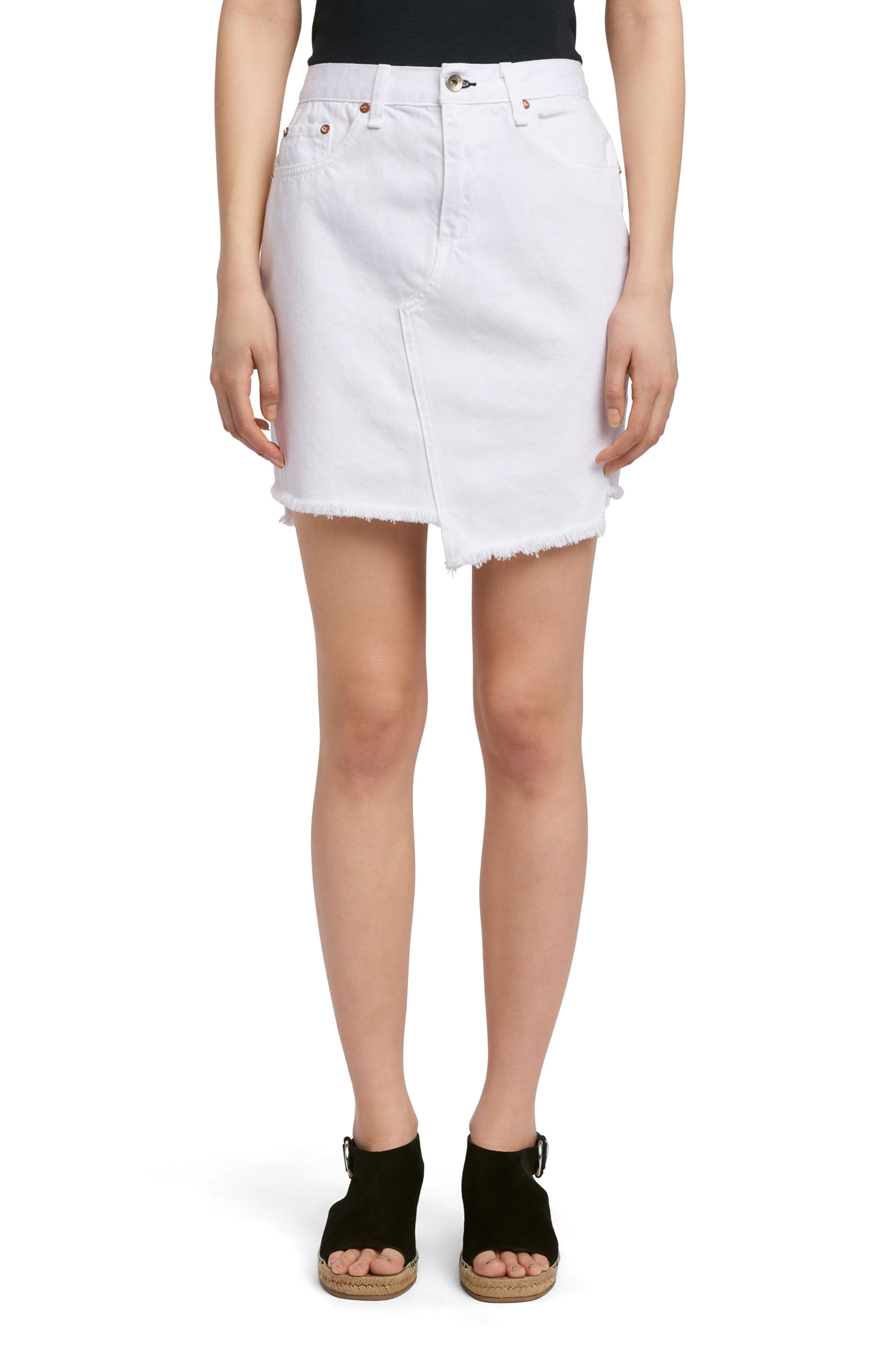 rag & bone/JEAN Dive Denim Skirt (White)