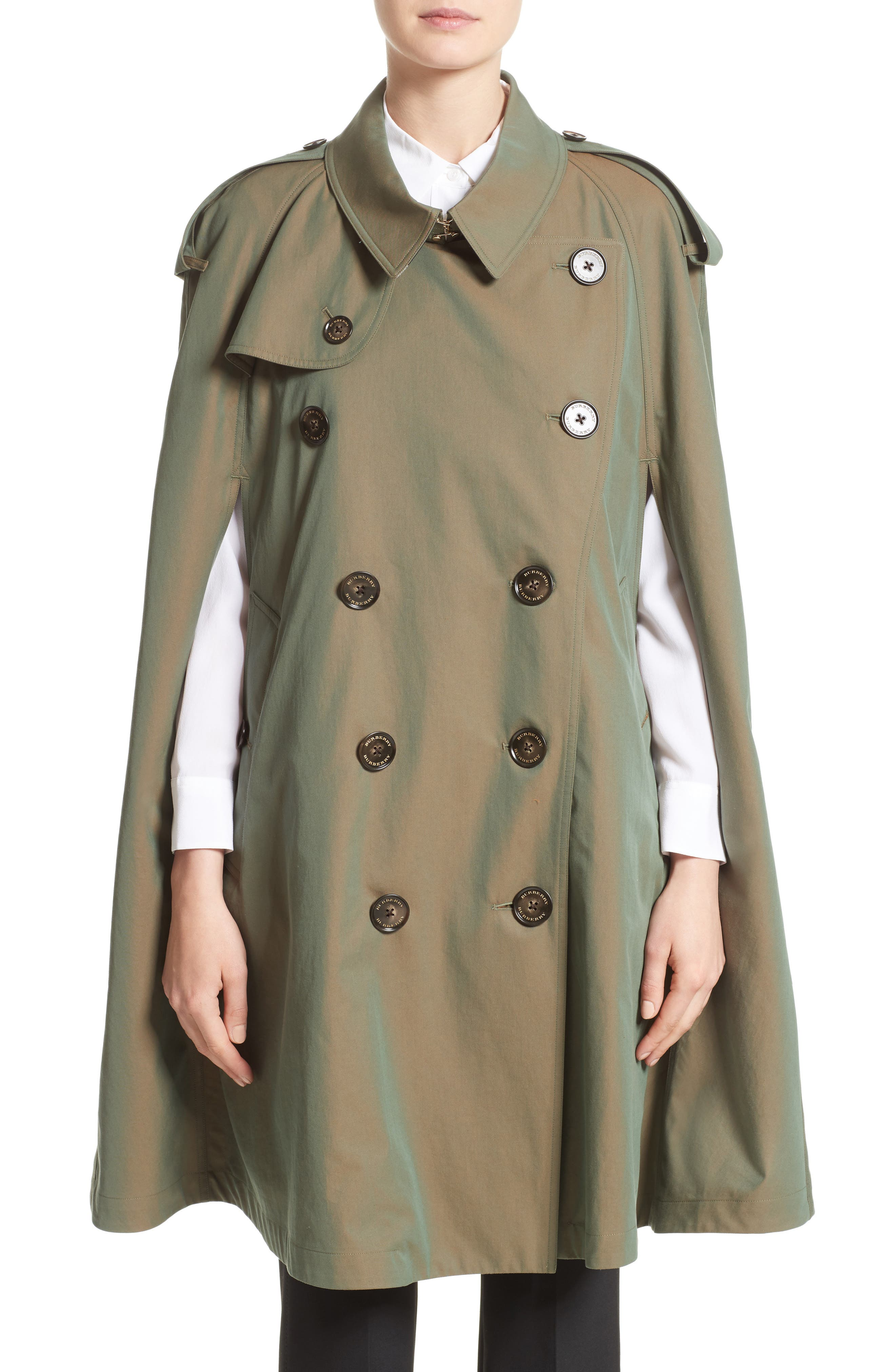 Allensford Raglan Trench Cape,                             Main thumbnail 1, color,                             Bright Olive