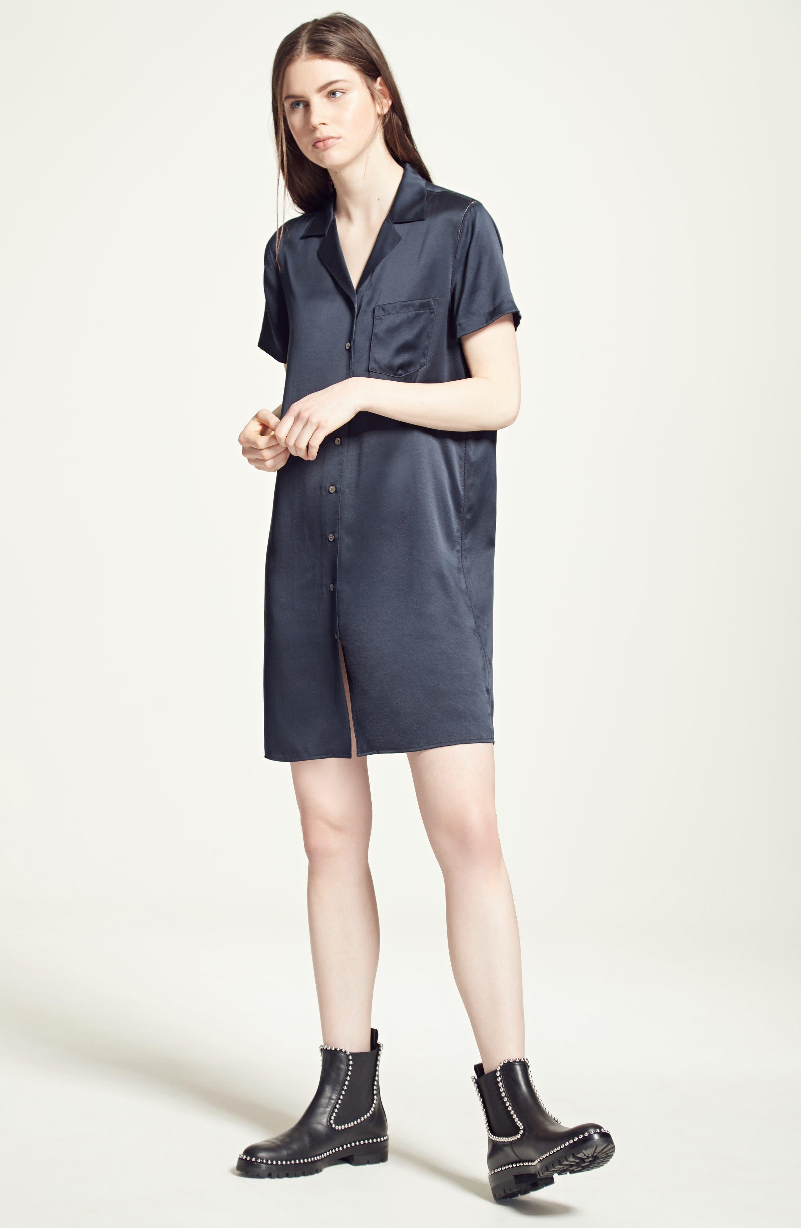 Alternate Image 2  - T by Alexander Wang Silk Shirtdress